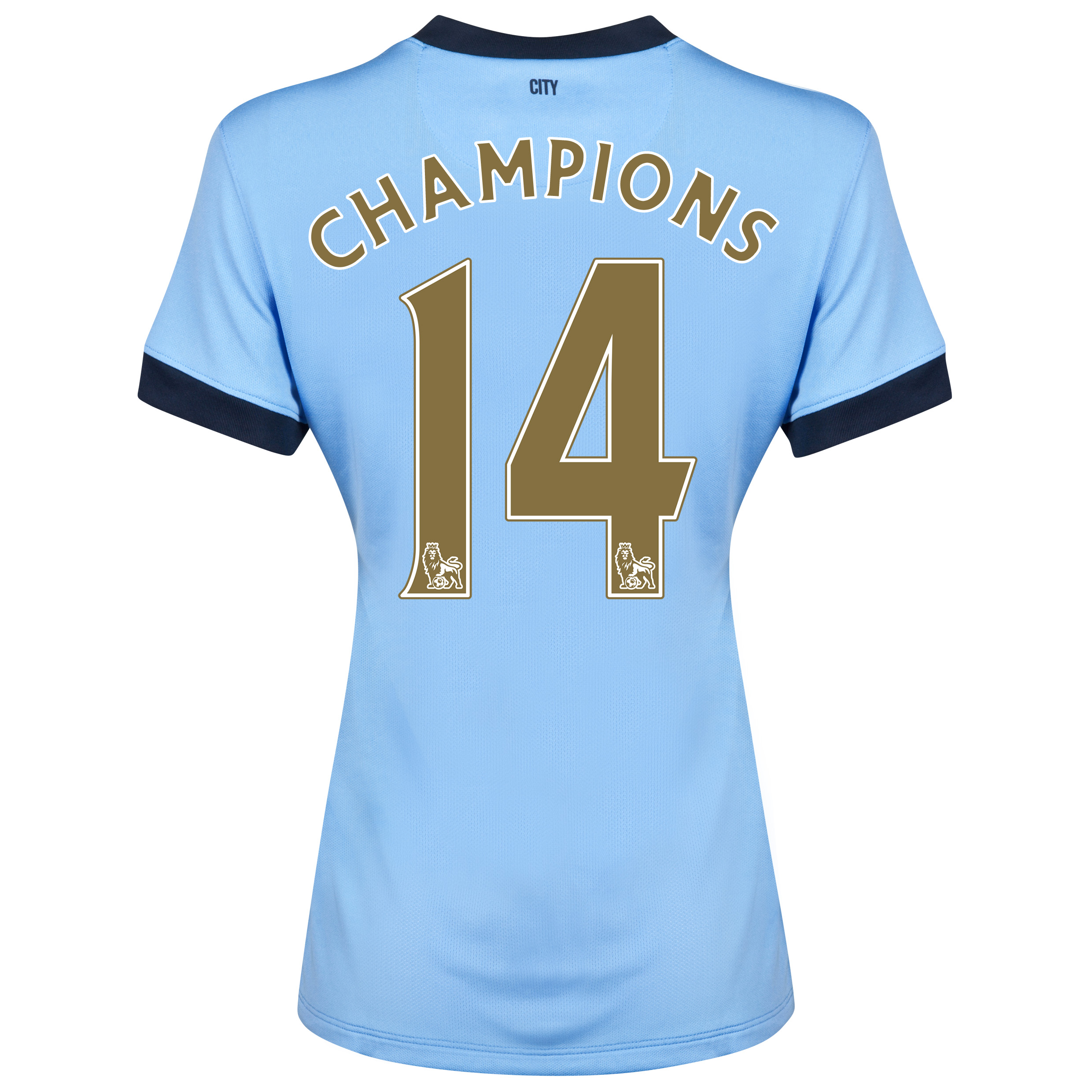 Manchester City Home Shirt 2014/15 - Womens Sky Blue with Gold Champions 14 printing