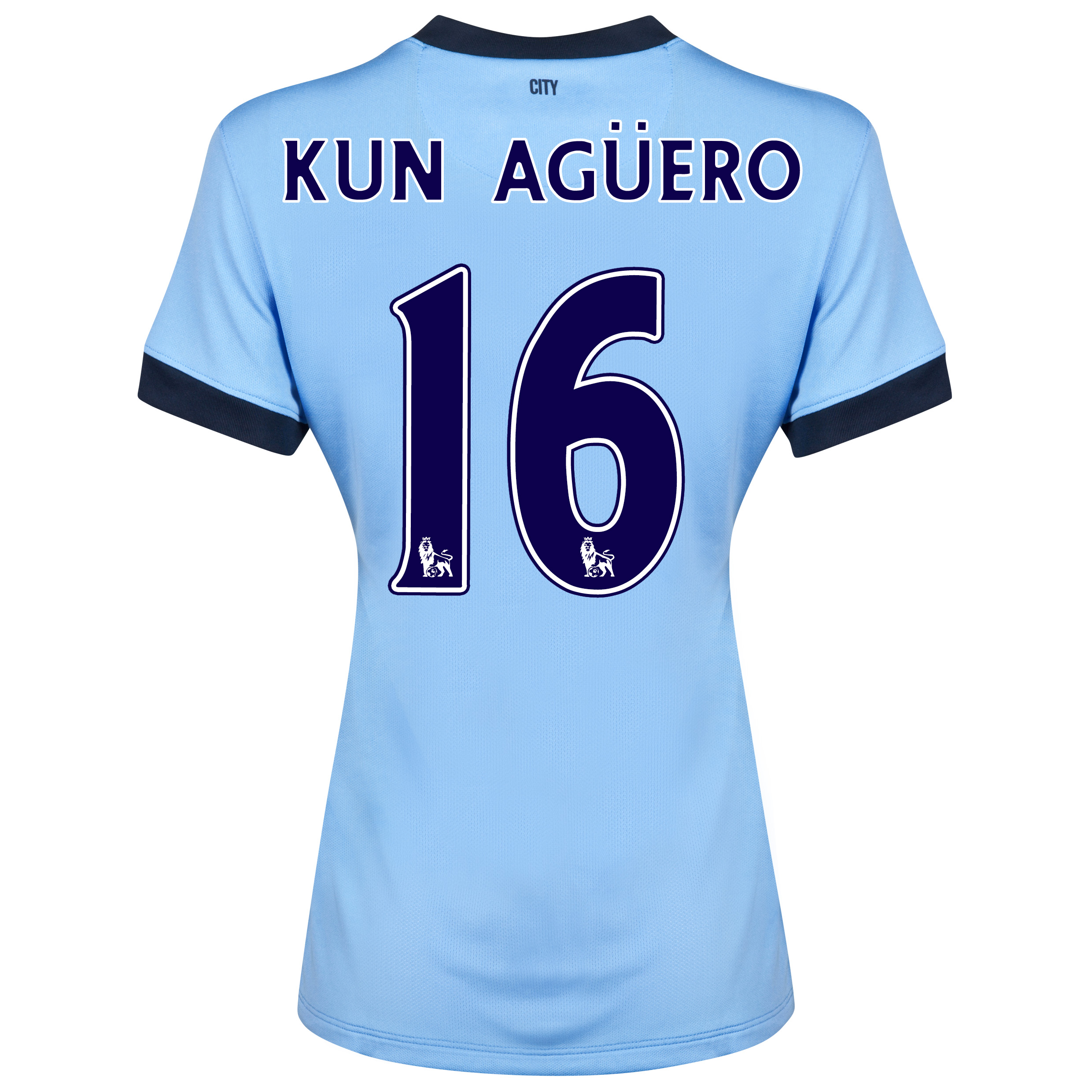 Manchester City Home Shirt 2014/15 - Womens Sky Blue with Kun Agüero  16 printing