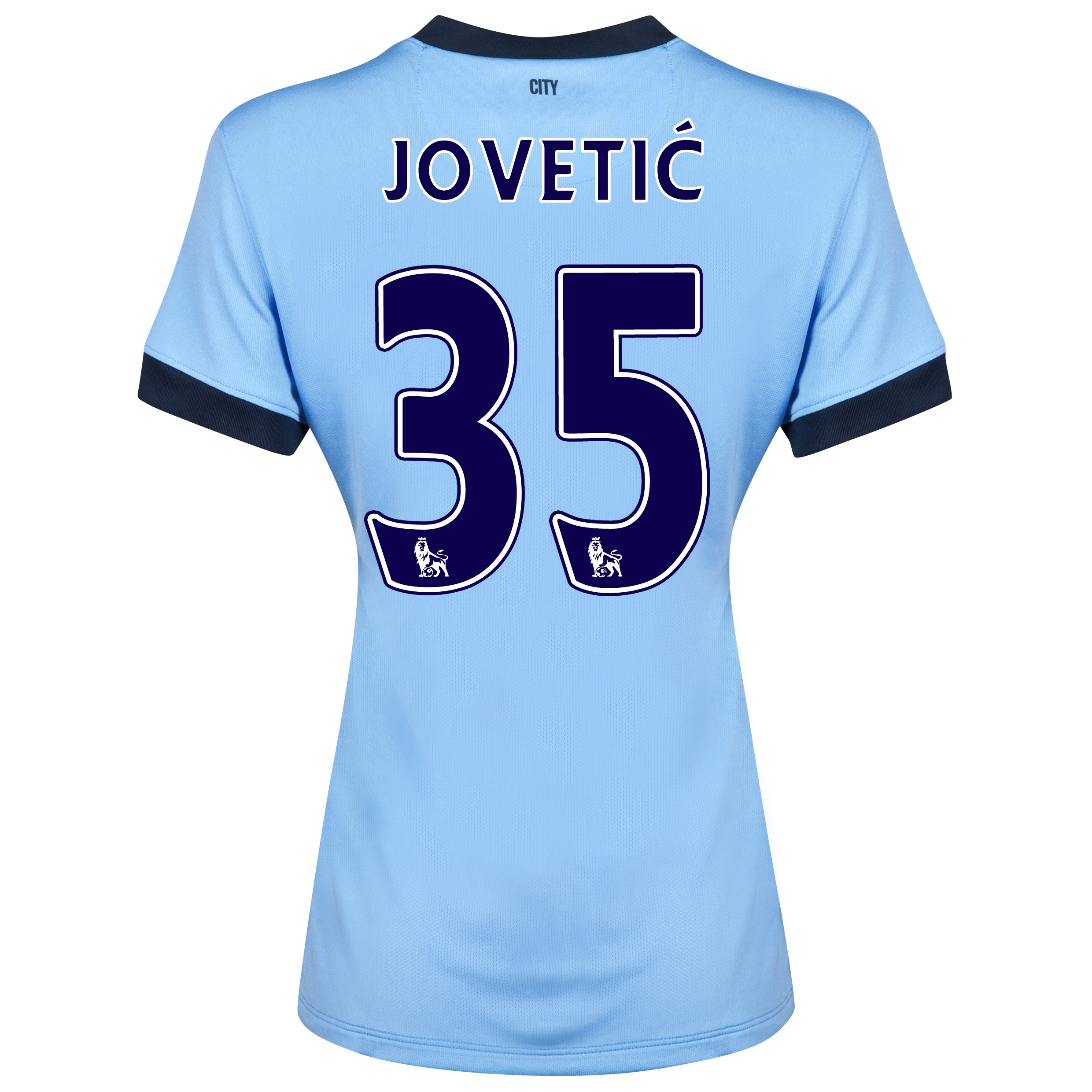 Manchester City Home Shirt 2014/15 - Womens Sky Blue with Jovetic 35 printing