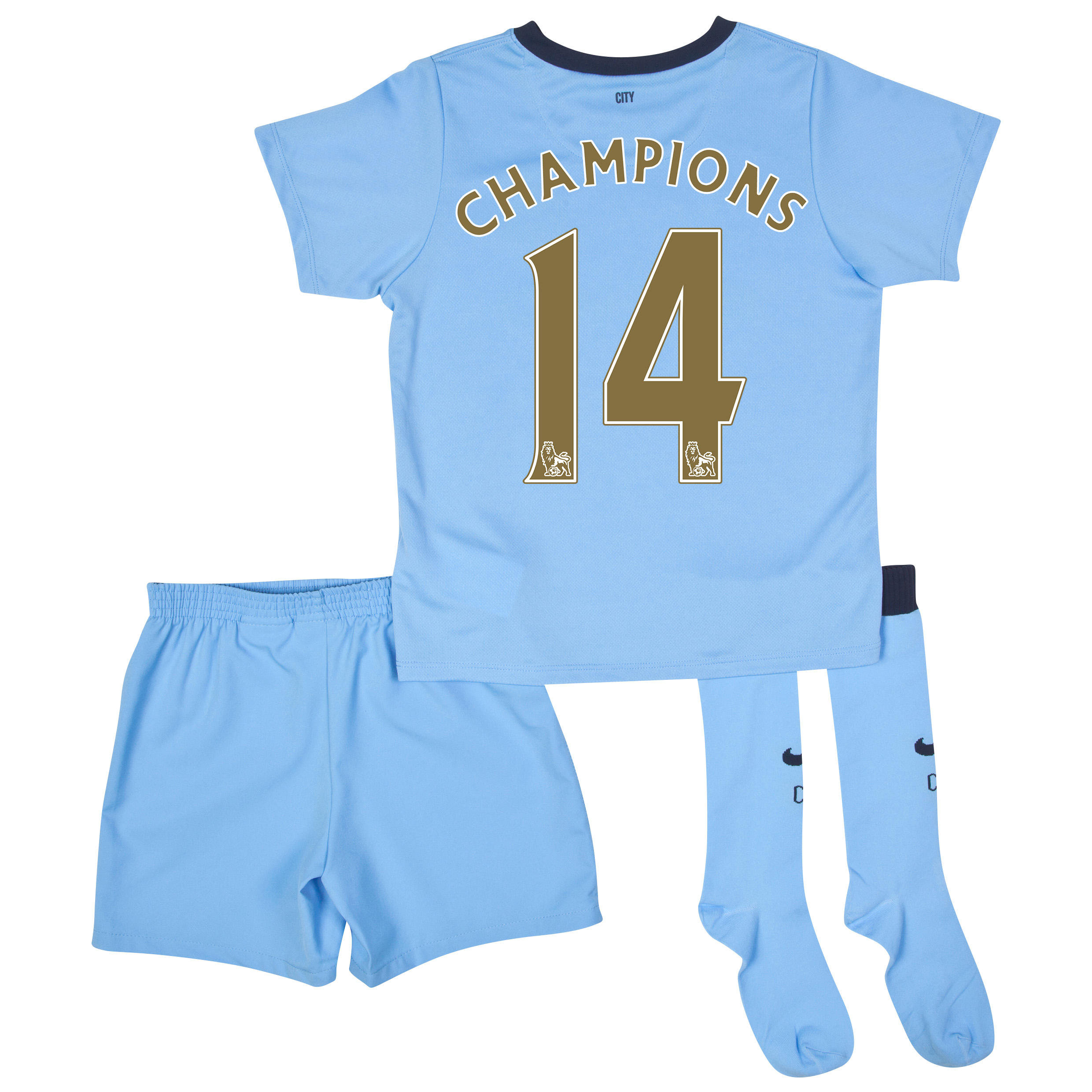 Manchester City Home Kit 2014/15 - Little Boys Sky Blue with Gold Champions 14 printing