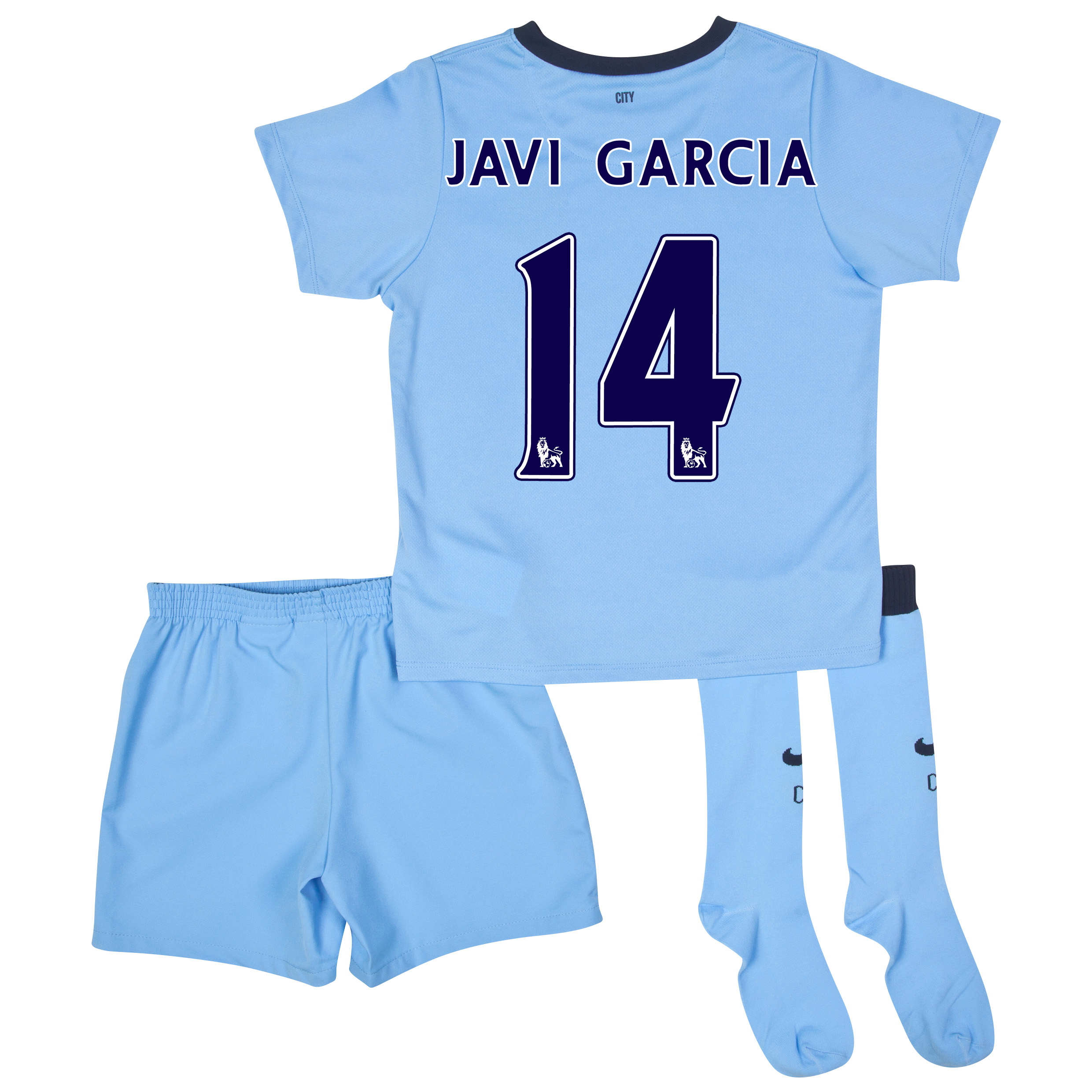Manchester City Home Kit 2014/15 - Little Boys Sky Blue with Javi Garcia 14 printing
