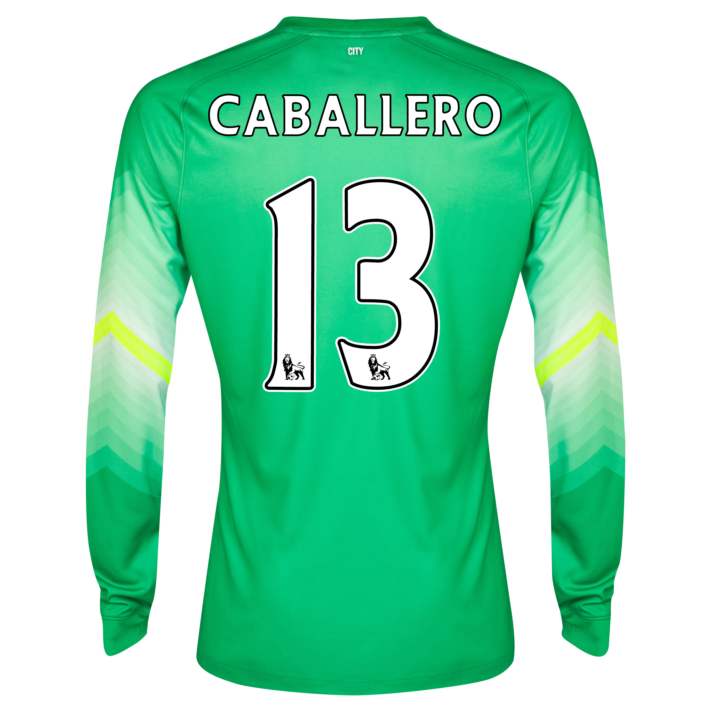 Manchester City Goalkeeper Shirt 2014/15 Lt Green with Caballero 13 printing