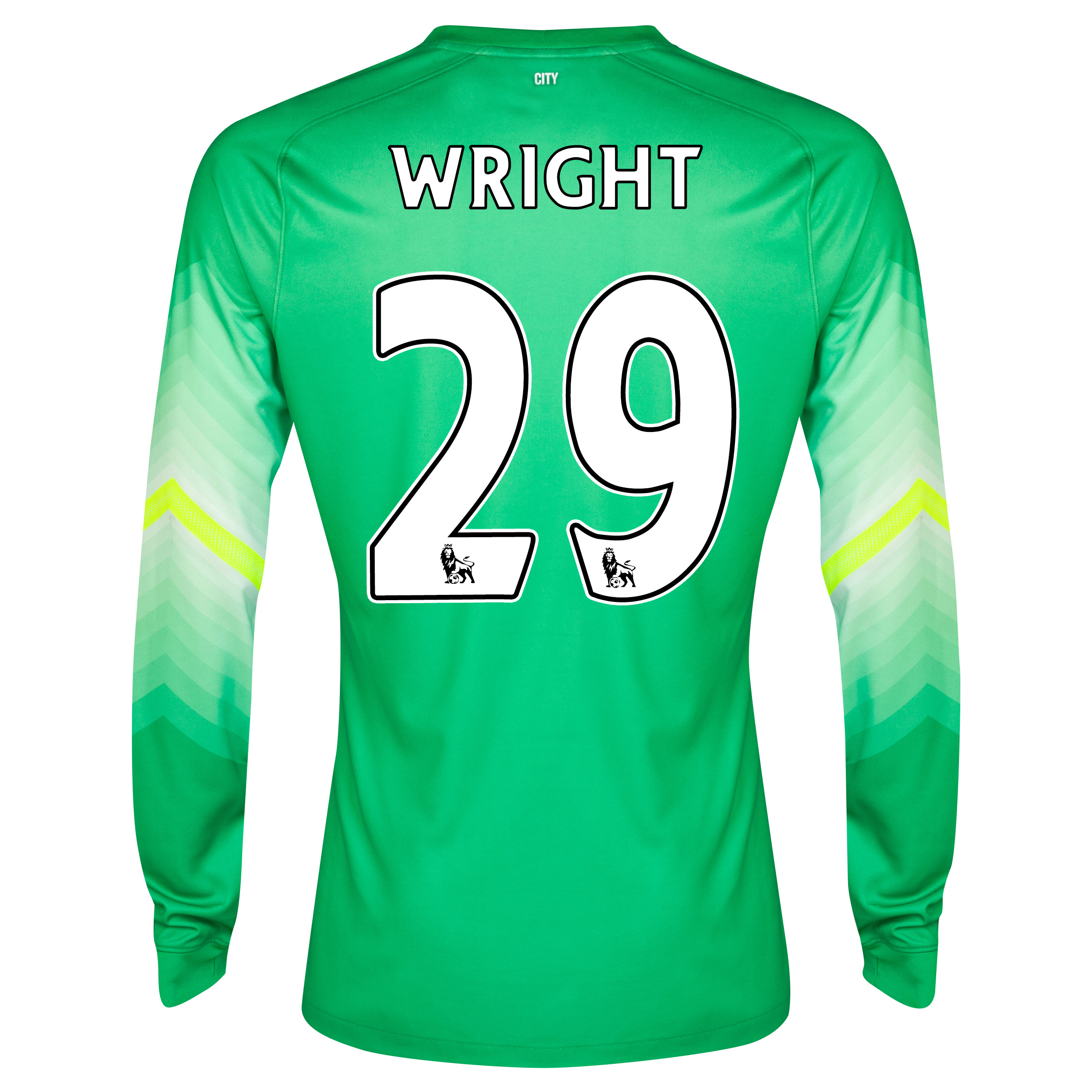 Manchester City Goalkeeper Shirt 2014/15 Lt Green with Wright 29 printing