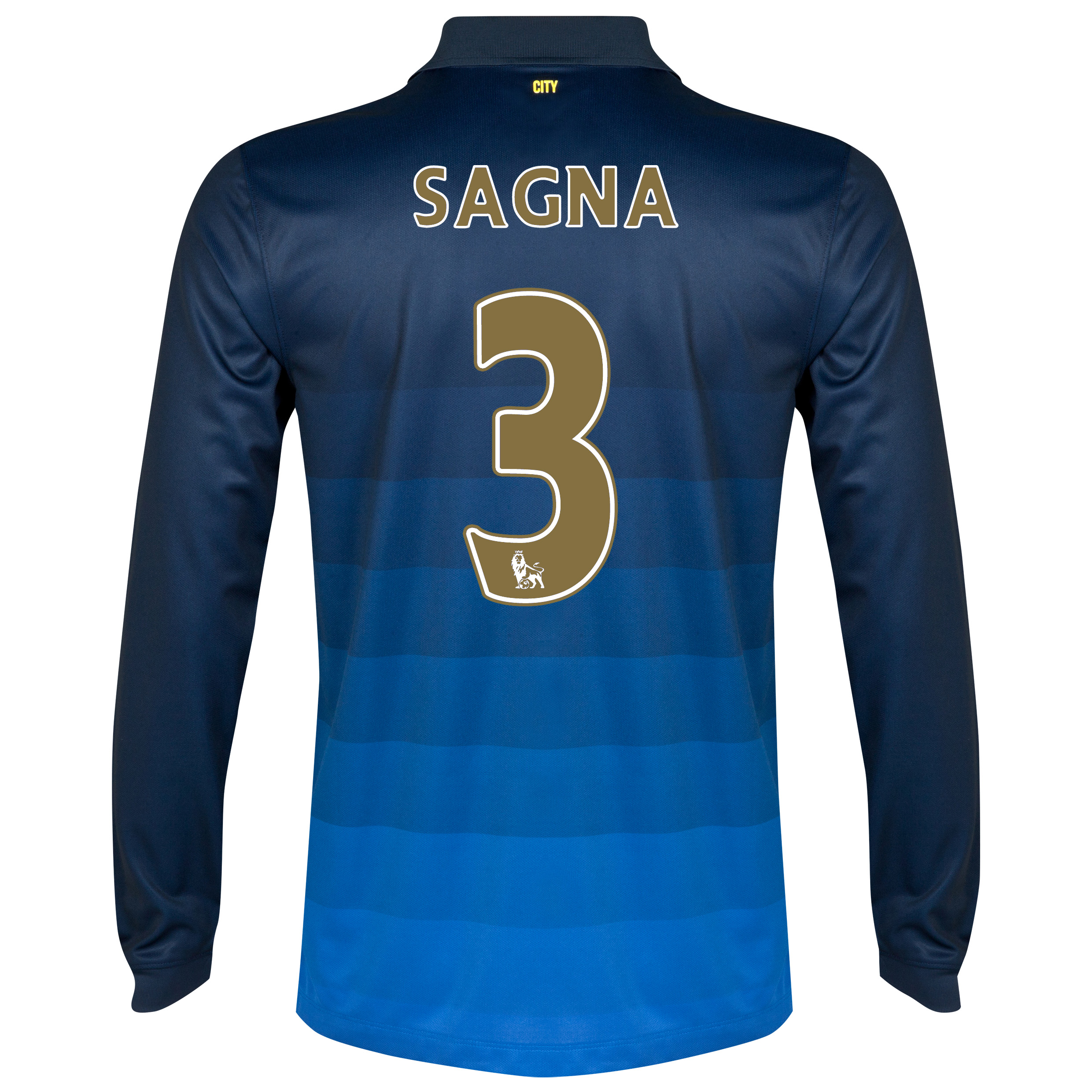 Manchester City Away Shirt 2014/15 - Long Sleeve Dk Blue with Sagna 3 printing