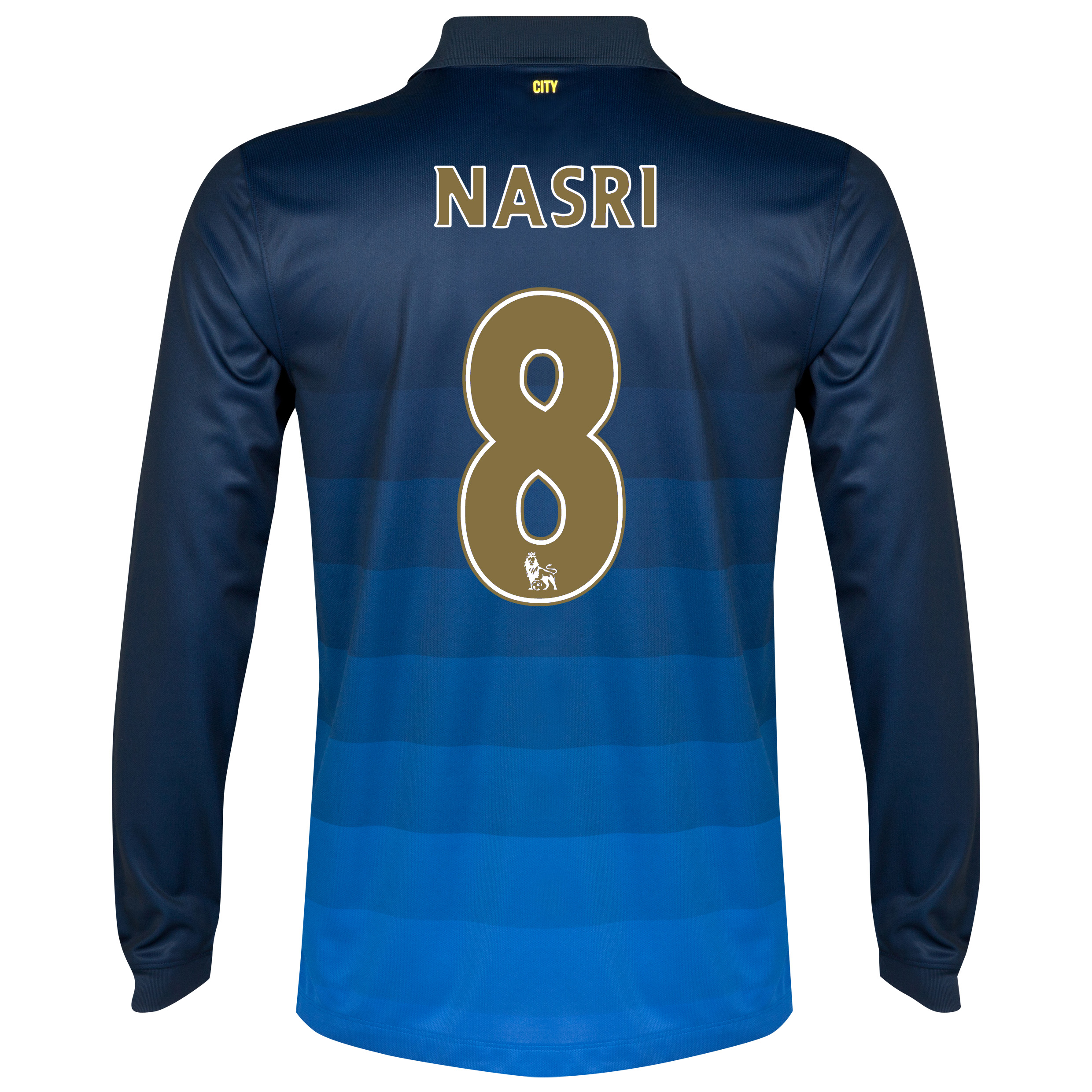 Manchester City Away Shirt 2014/15 - Long Sleeve Dk Blue with Nasri 8 printing