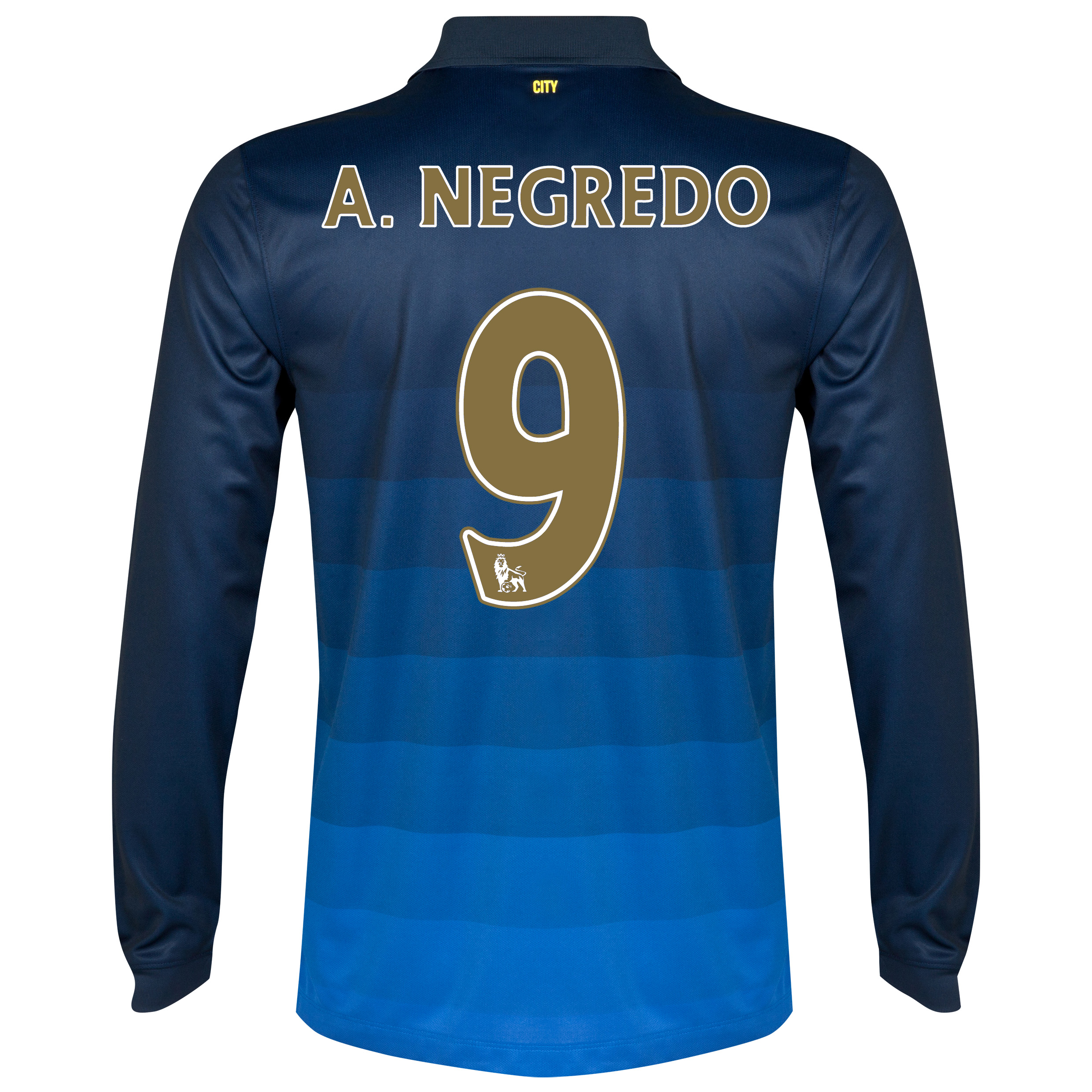 Manchester City Away Shirt 2014/15 - Long Sleeve Dk Blue with A.Negredo 9 printing