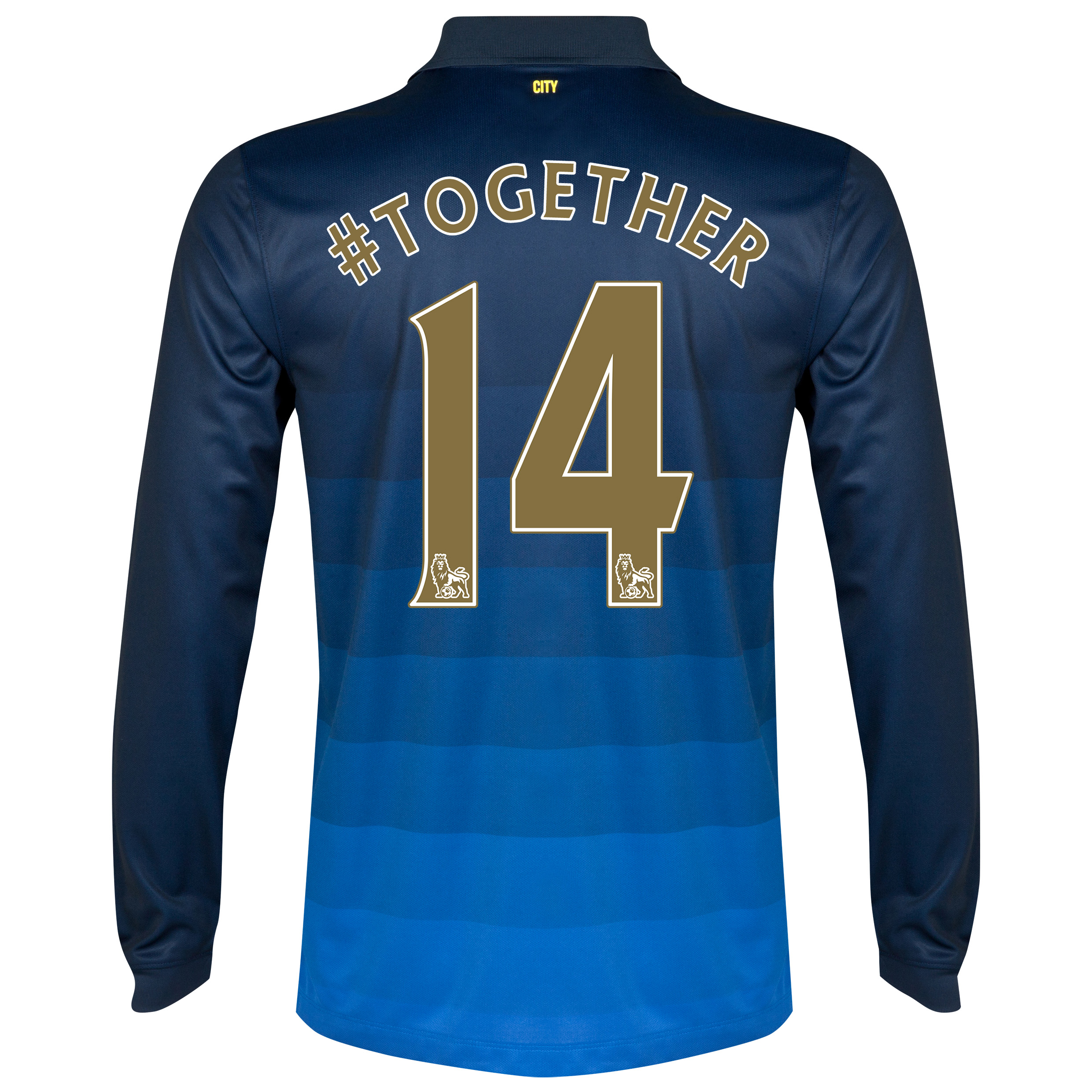 Manchester City Away Shirt 2014/15 - Long Sleeve Dk Blue with Champions 14 printing