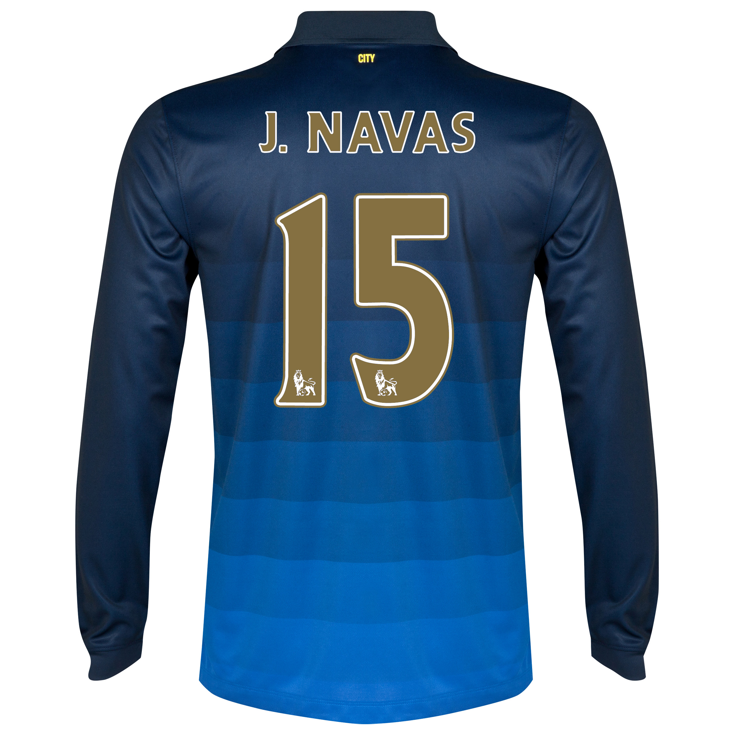 Manchester City Away Shirt 2014/15 - Long Sleeve Dk Blue with J.Navas 15 printing