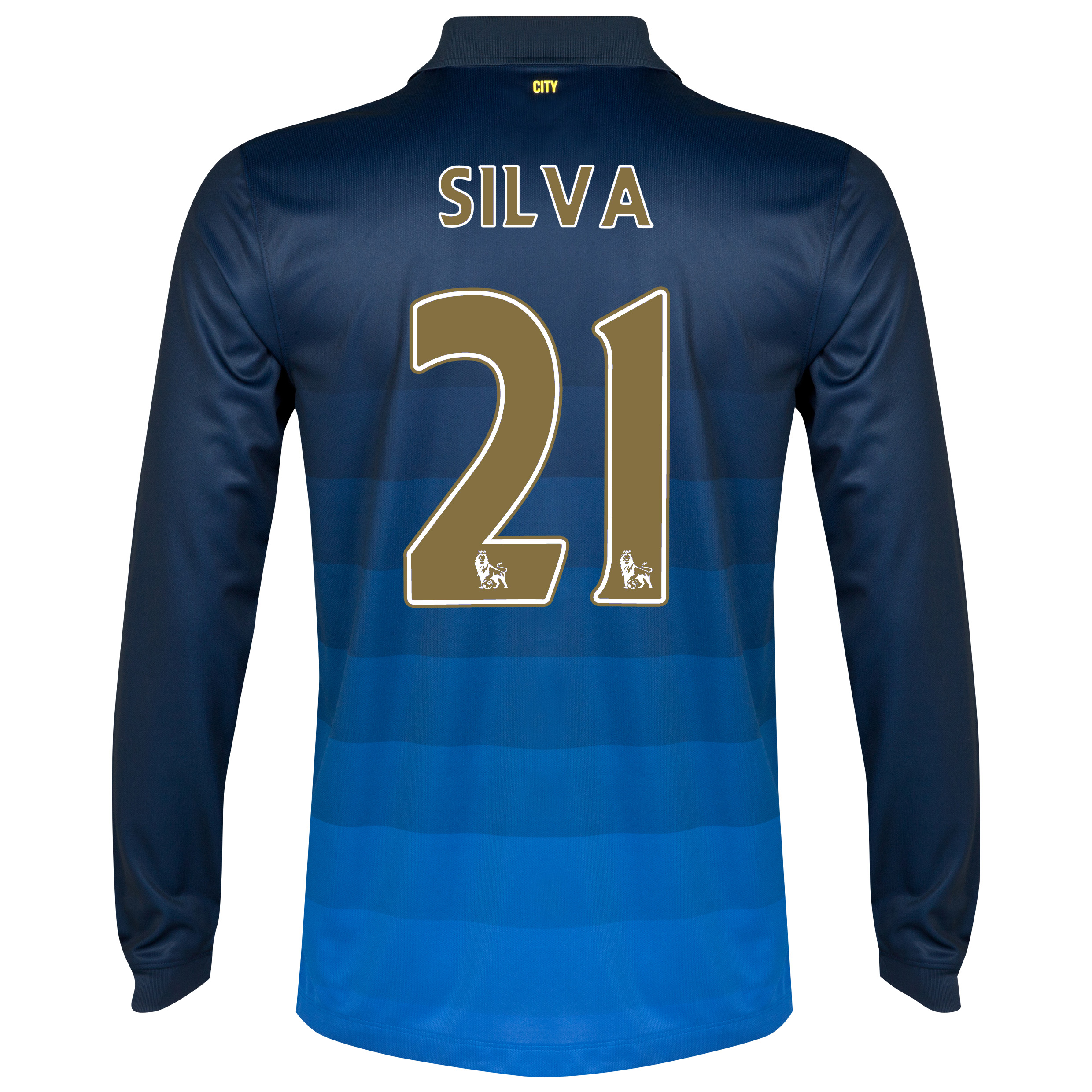 Manchester City Away Shirt 2014/15 - Long Sleeve Dk Blue with Silva 21 printing