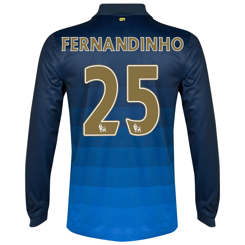 Manchester City Away Shirt 2014/15 - Long Sleeve Dk Blue with Fernandinho 25 printing