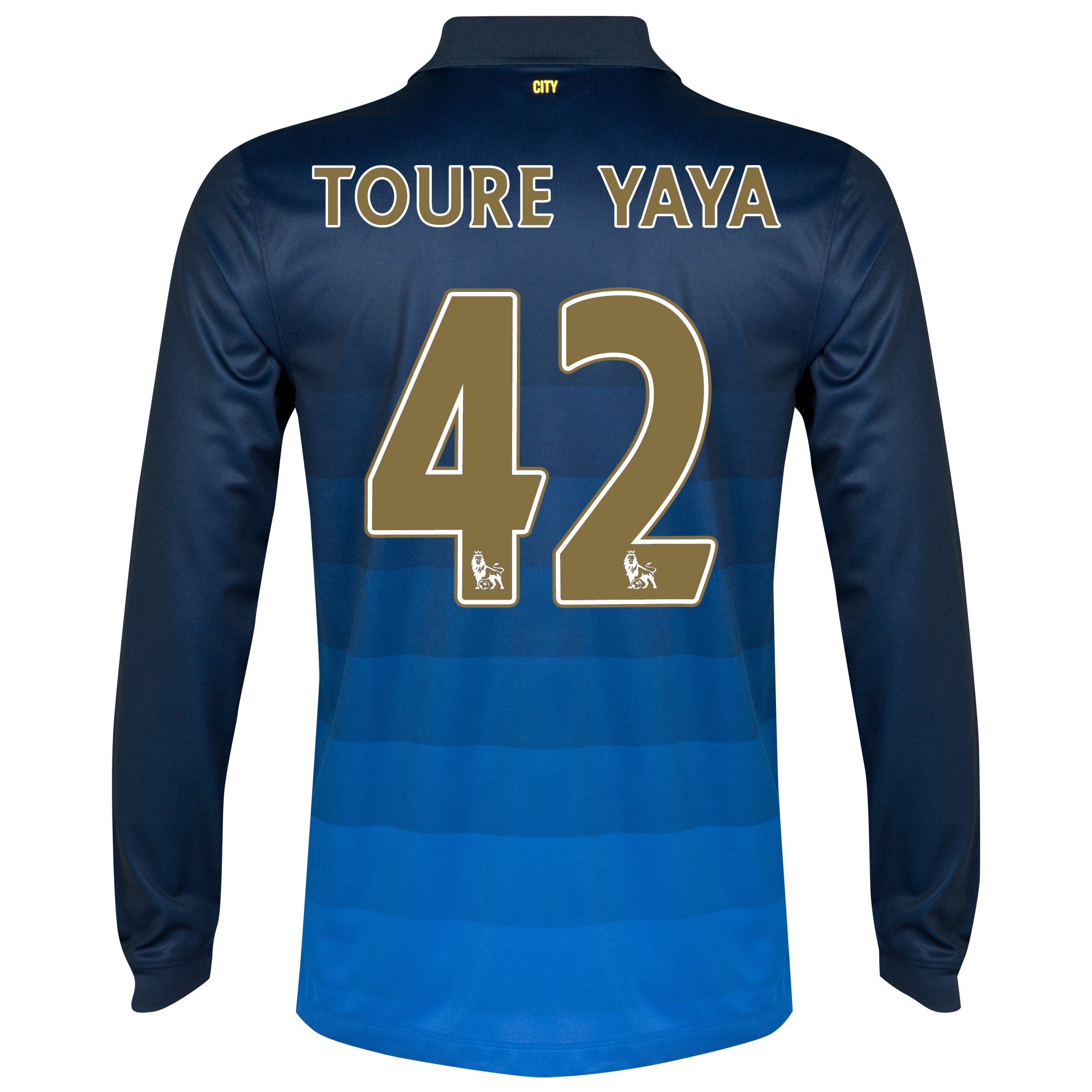 Manchester City Away Shirt 2014/15 - Long Sleeve Dk Blue with Toure Yaya 42 printing
