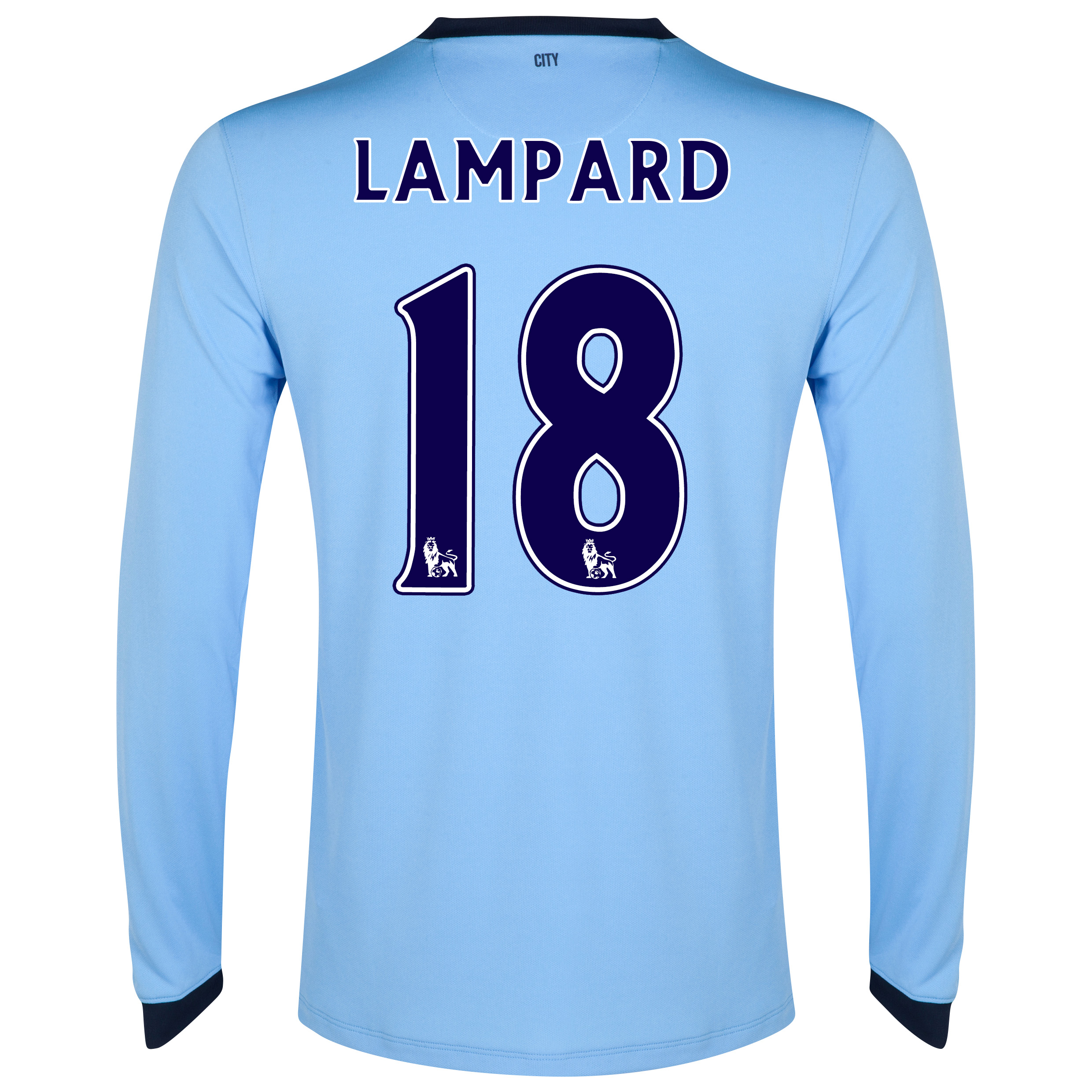 Manchester City Home Shirt 2014/15 - Long Sleeve - Kids Sky Blue with Lampard 18 printing