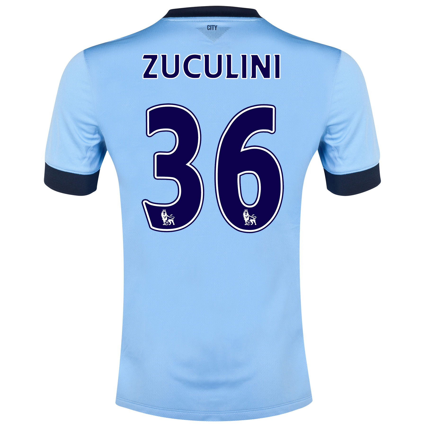 Manchester City Home Shirt 2014/15 - Kids Sky Blue with Zuculini 36 printing