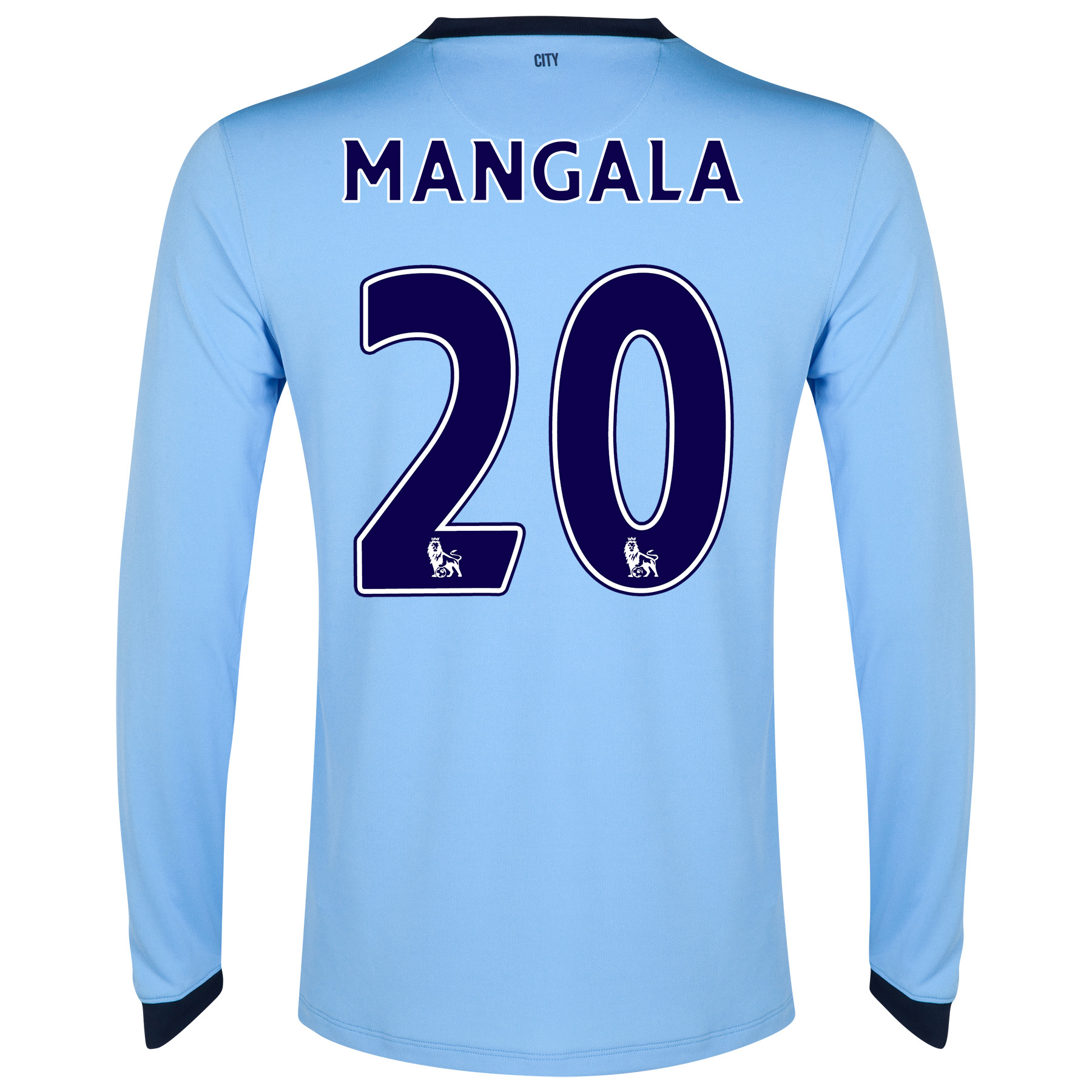 Manchester City Home Shirt 2014/15 - Long Sleeve - Kids Sky Blue with Mangala 20 printing