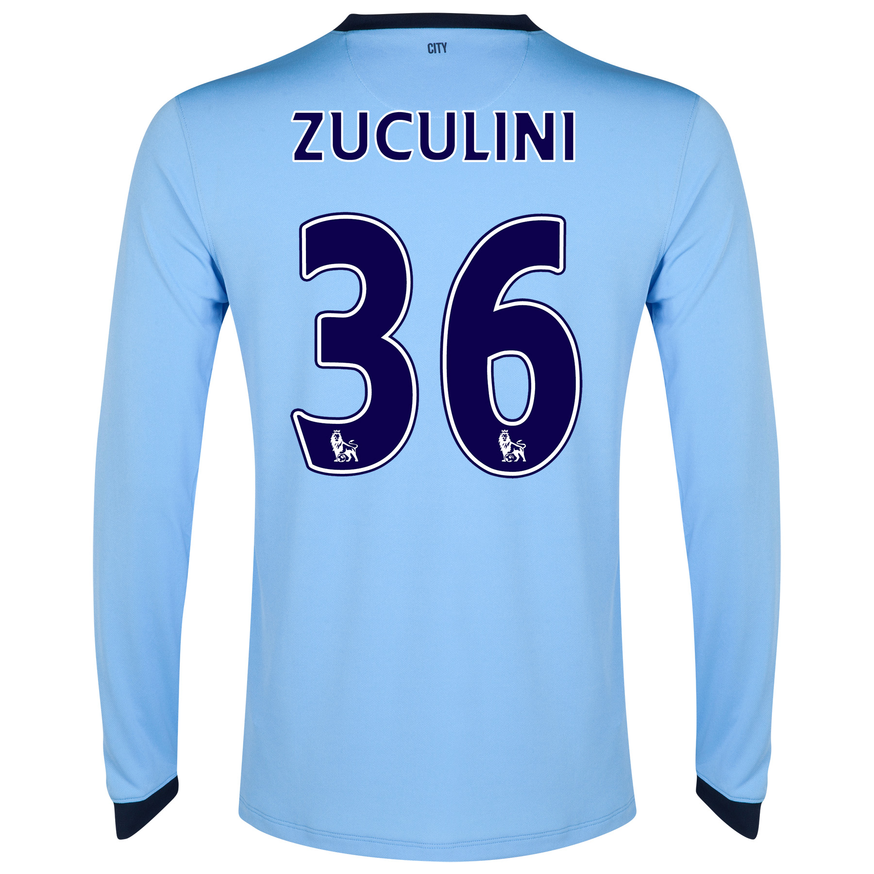 Manchester City Home Shirt 2014/15 - Long Sleeve - Kids Sky Blue with Zuculini 36 printing
