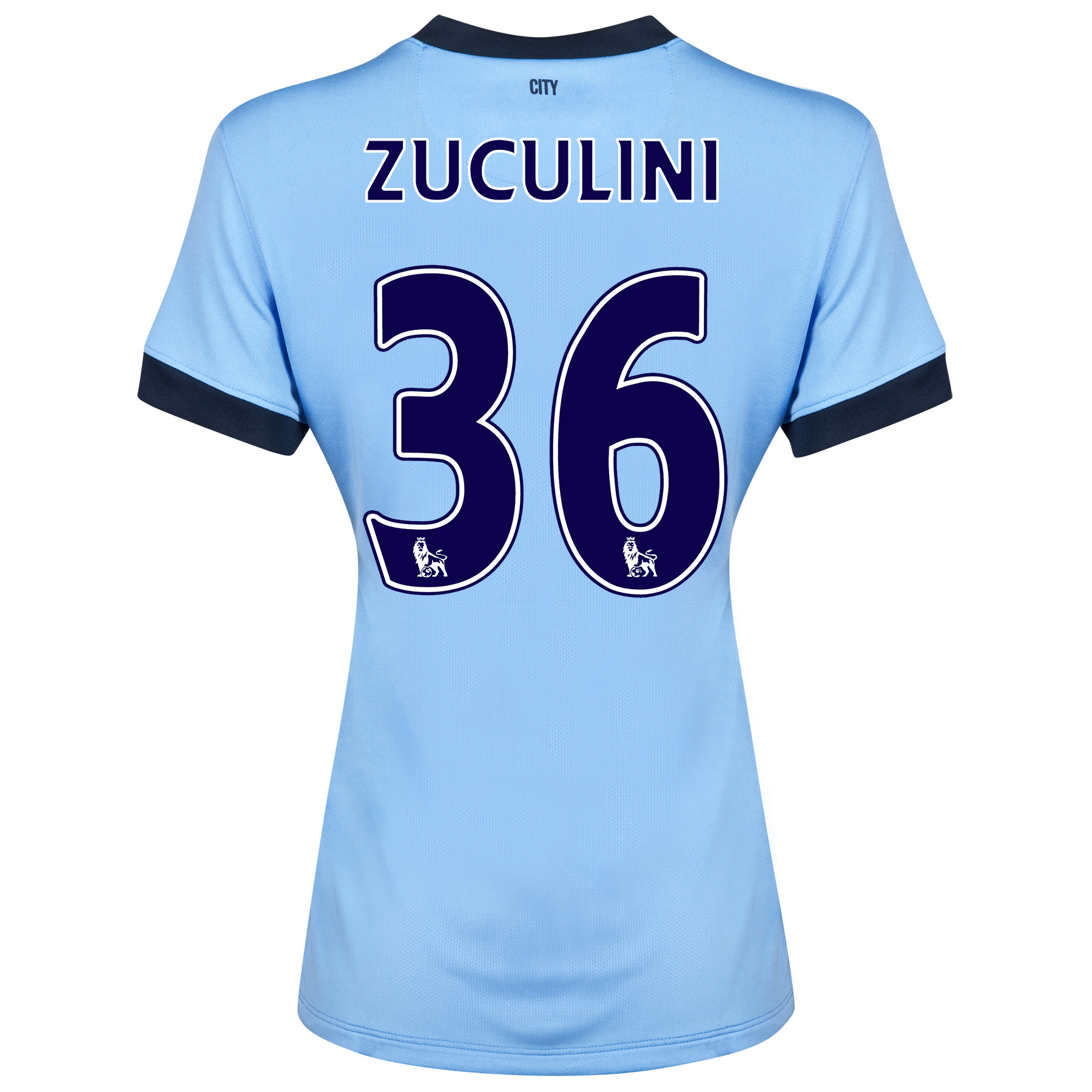Manchester City Home Shirt 2014/15 - Womens Sky Blue with Zuculini 36 printing