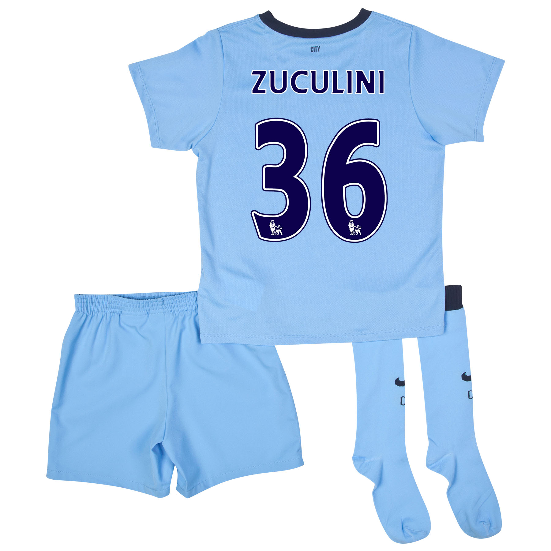 Manchester City Home Kit 2014/15 - Little Boys Sky Blue with Zuculini 36 printing
