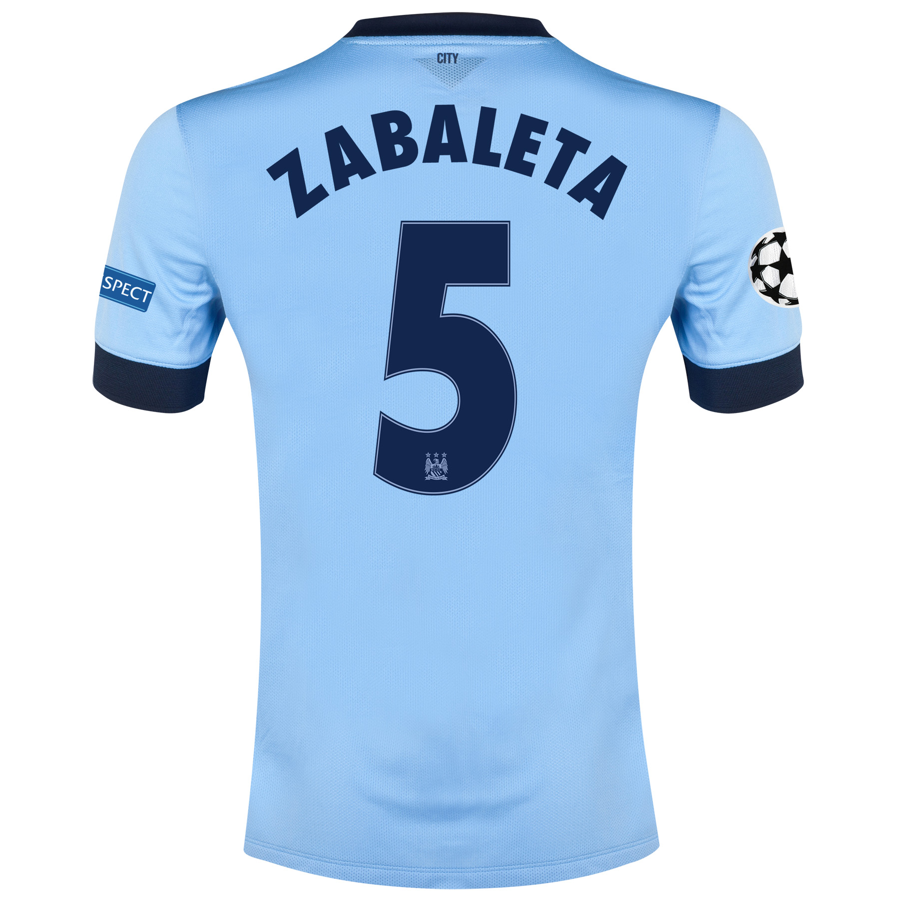 Manchester City UEFA Champions League Home Shirt 2014/15 Sky Blue with Zabaleta 5 printing