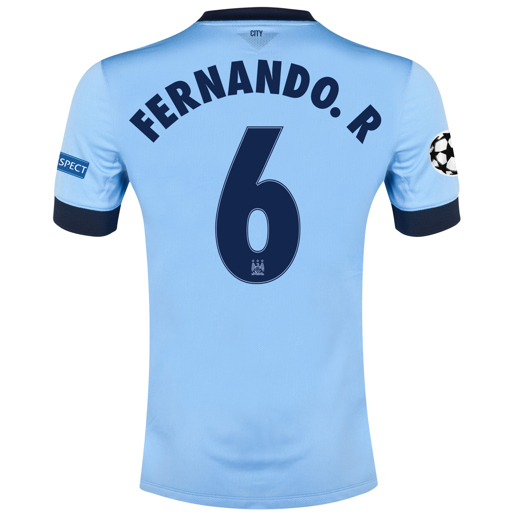 Manchester City UEFA Champions League Home Shirt 2014/15 Sky Blue with Fernando. R 6 printing