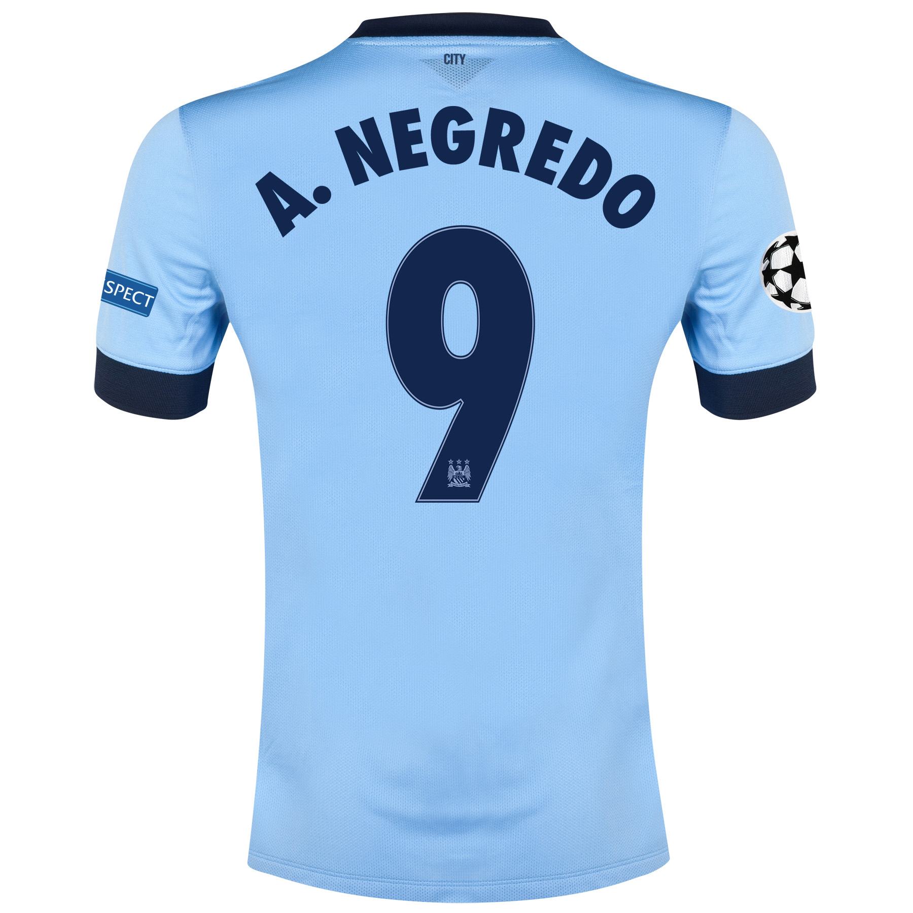 Manchester City UEFA Champions League Home Shirt 2014/15 Sky Blue with A.Negredo 9 printing