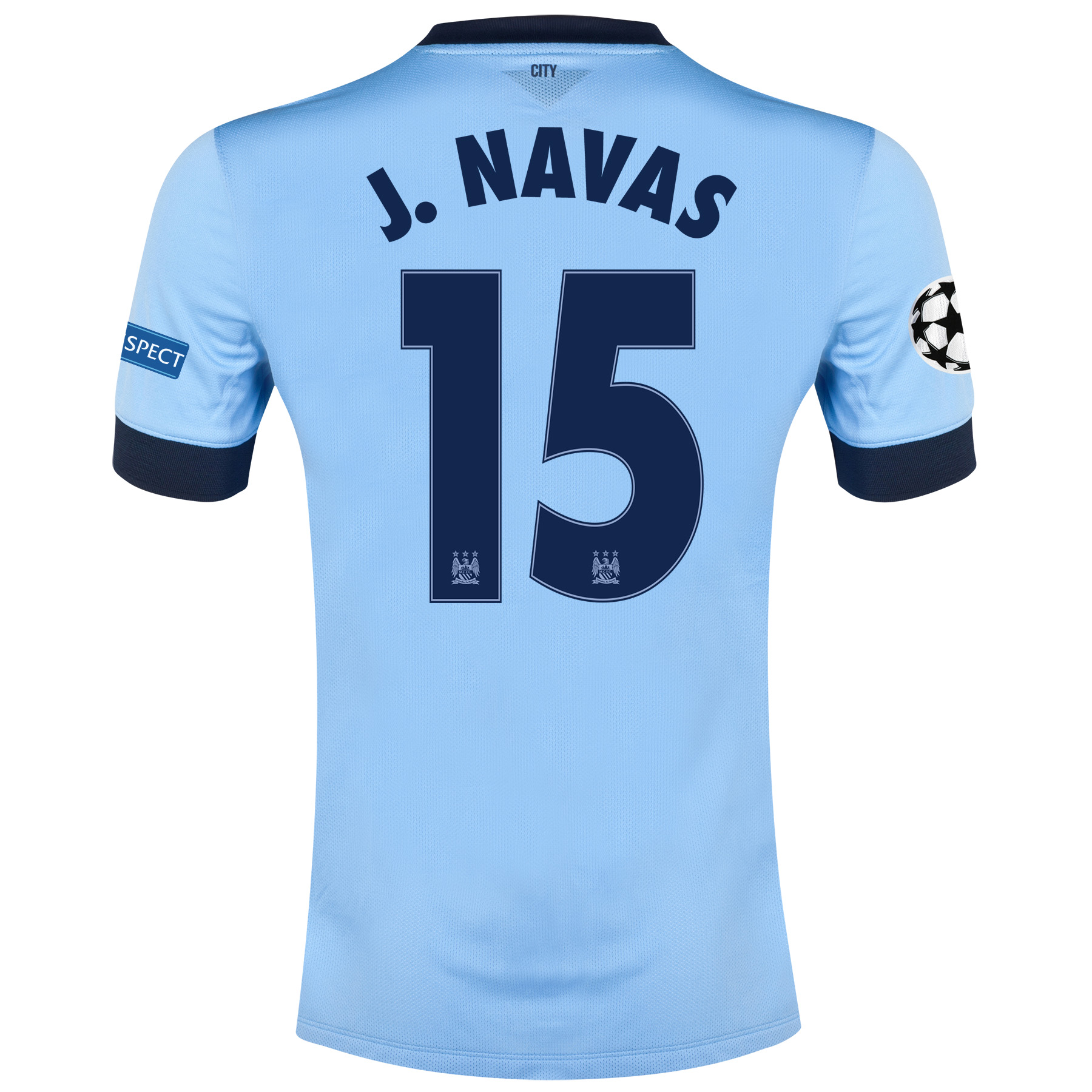 Manchester City UEFA Champions League Home Shirt 2014/15 Sky Blue with J.Navas 15 printing