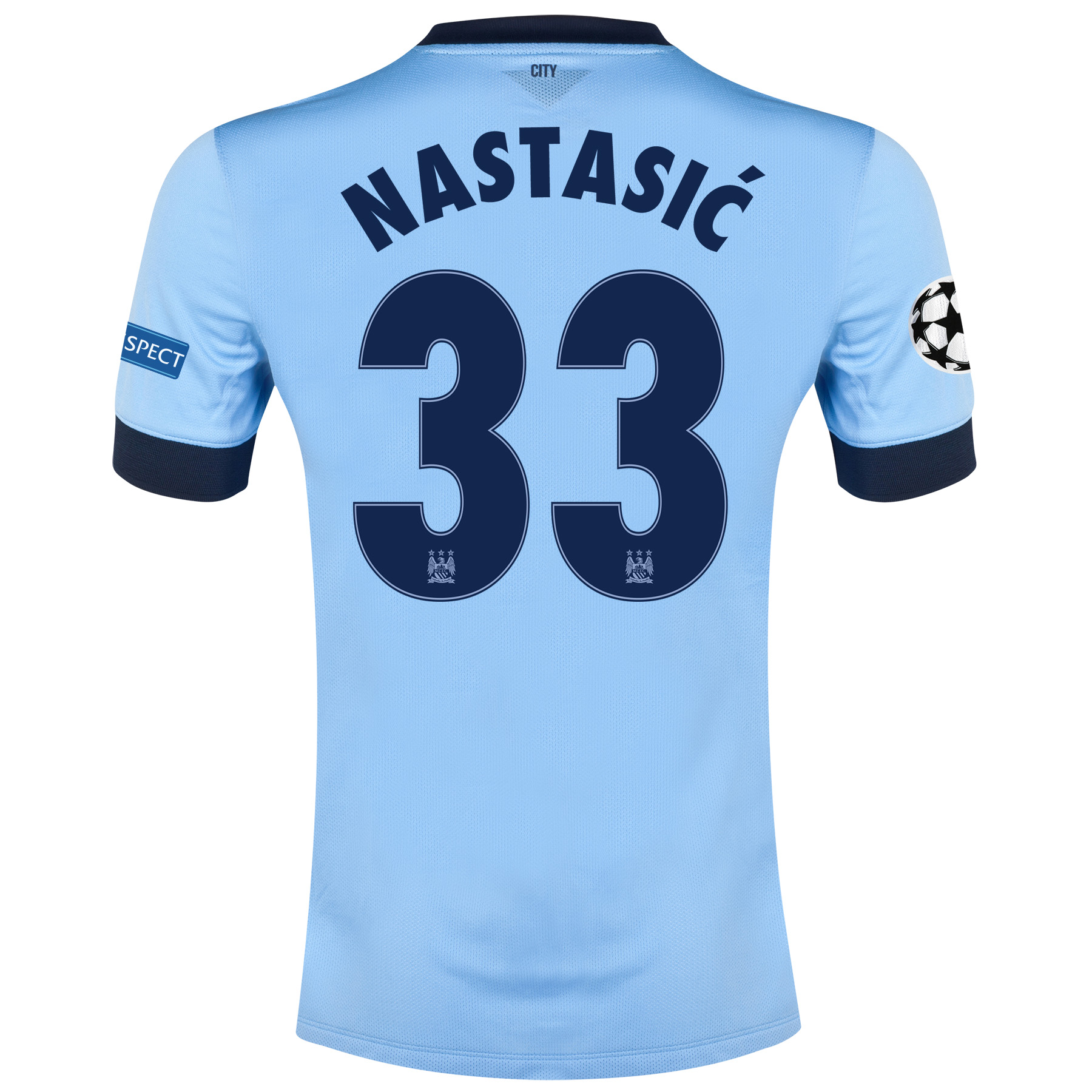 Manchester City UEFA Champions League Home Shirt 2014/15 Sky Blue with Nastasic 33 printing