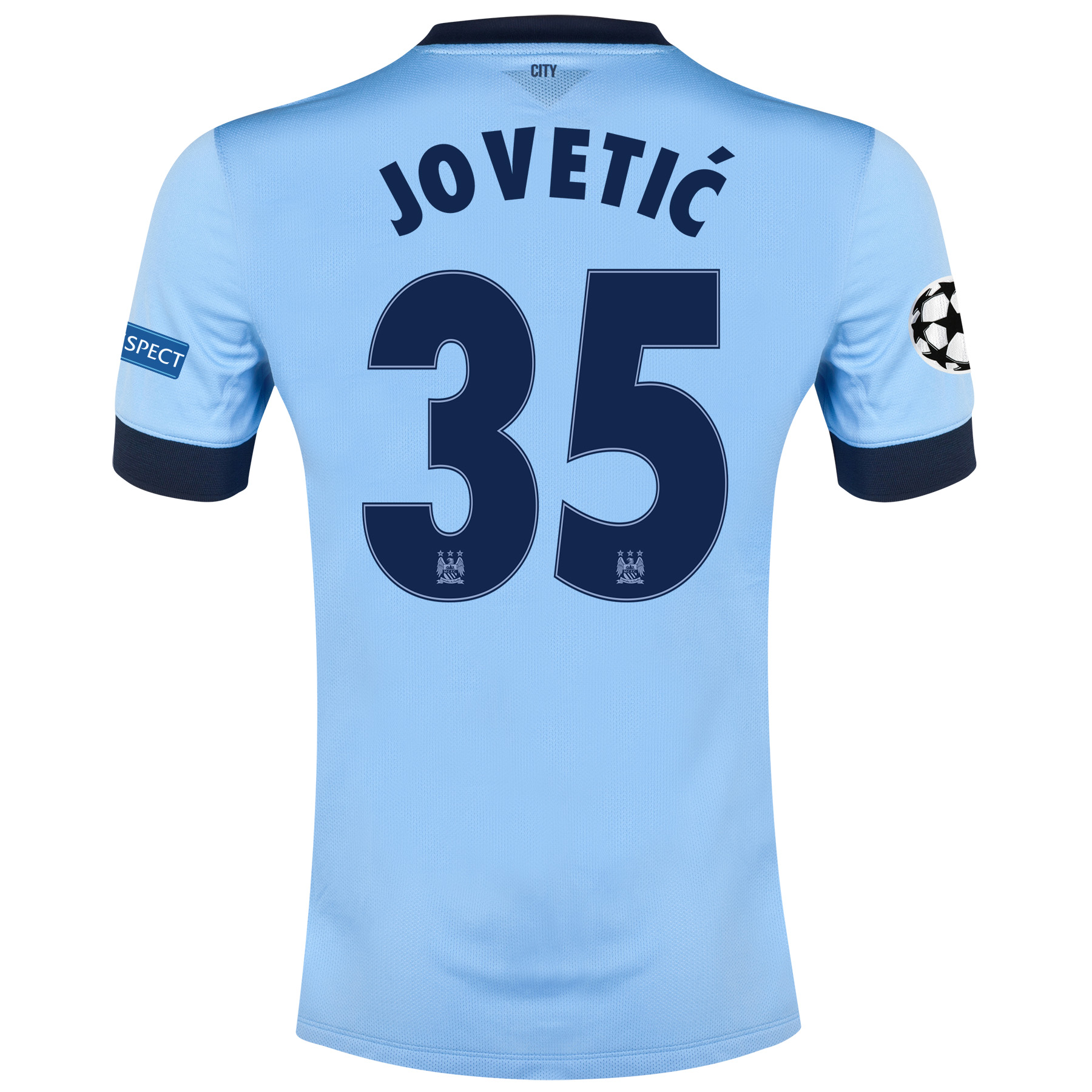 Manchester City UEFA Champions League Home Shirt 2014/15 Sky Blue with Jovetic 35 printing