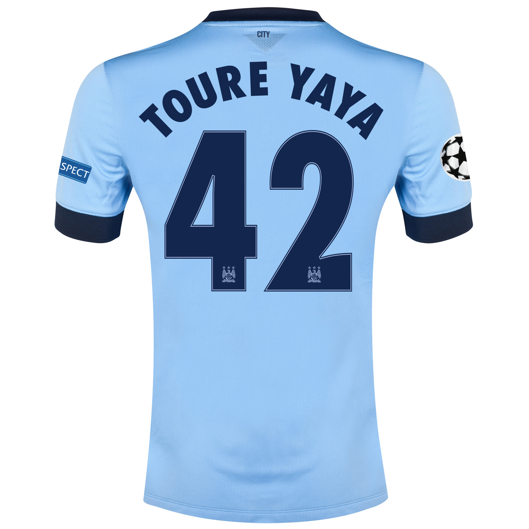 Manchester City UEFA Champions League Home Shirt 2014/15 Sky Blue with Toure Yaya 42 printing