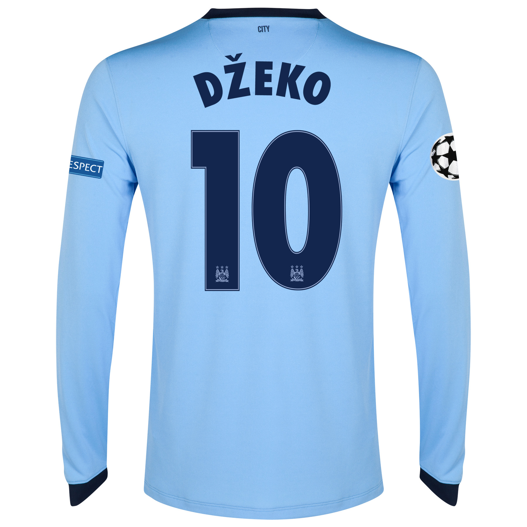 Manchester City UEFA Champions League Home Shirt 2014/15 - Long Sleeve Sky Blue with Dzeko 10 printing