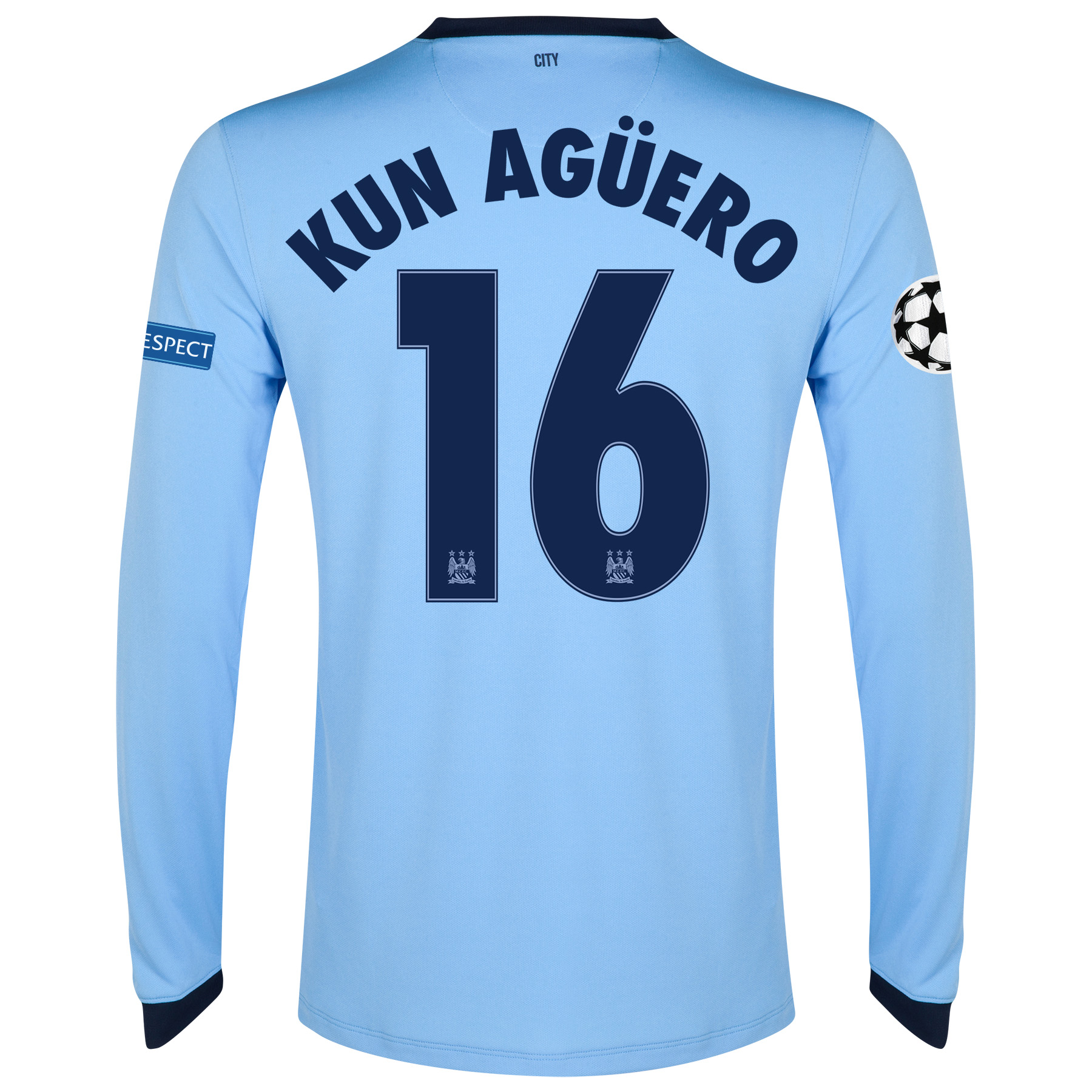 Manchester City UEFA Champions League Home Shirt 2014/15 - Long Sleeve Sky Blue with Kun Agüero  16 printing