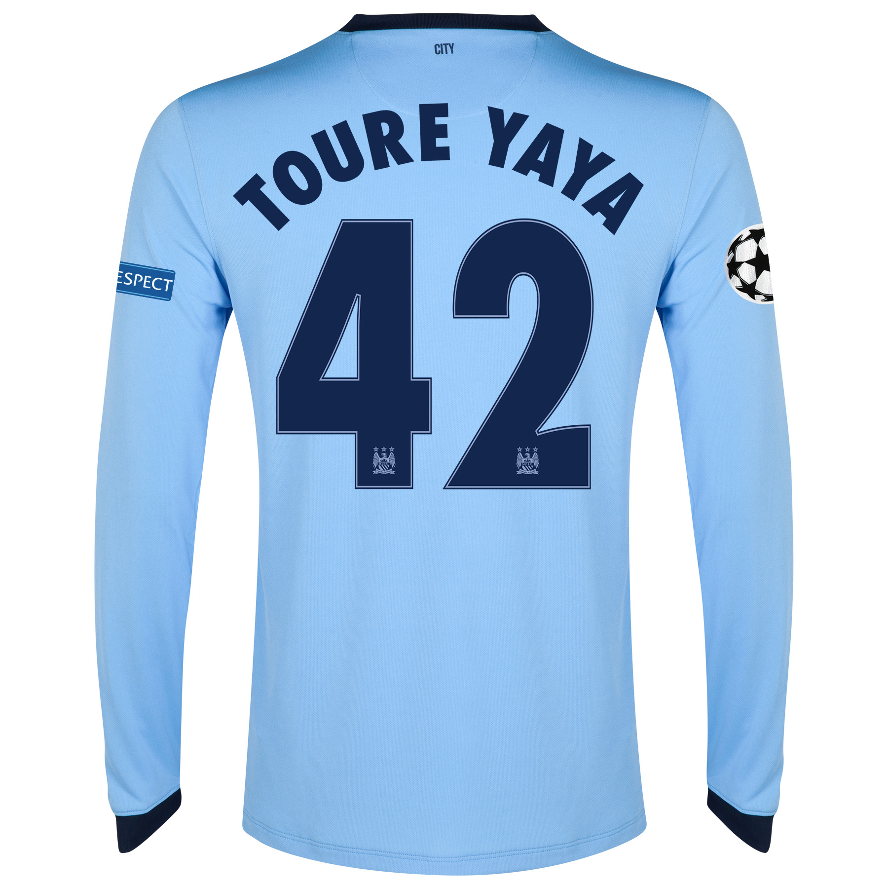 Manchester City UEFA Champions League Home Shirt 2014/15 - Long Sleeve Sky Blue with Toure Yaya 42 printing