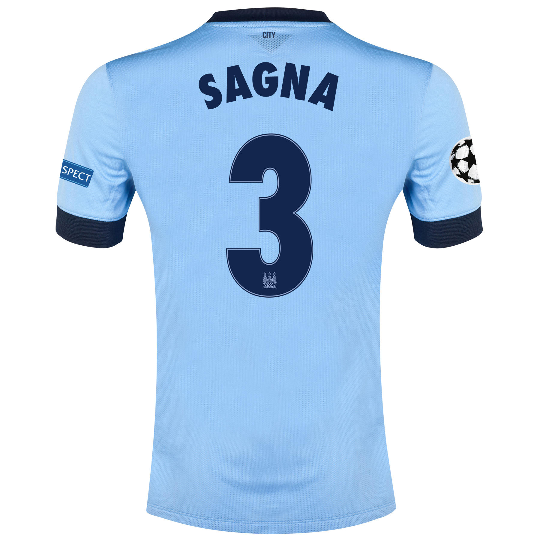 Manchester City UEFA Champions League Home Shirt 2014/15 - Kids Sky Blue with Sagna 3 printing