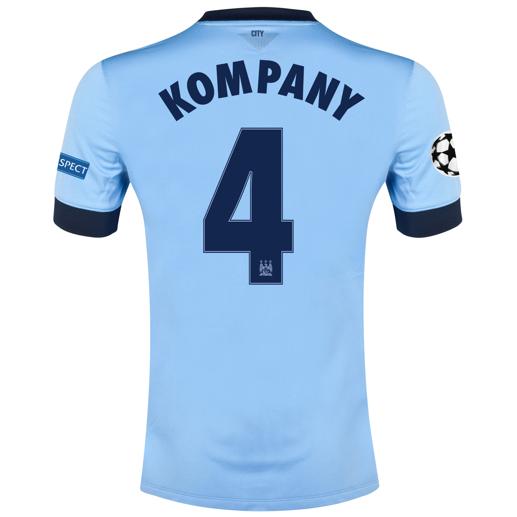 Manchester City UEFA Champions League Home Shirt 2014/15 - Kids Sky Blue with Kompany 4 printing
