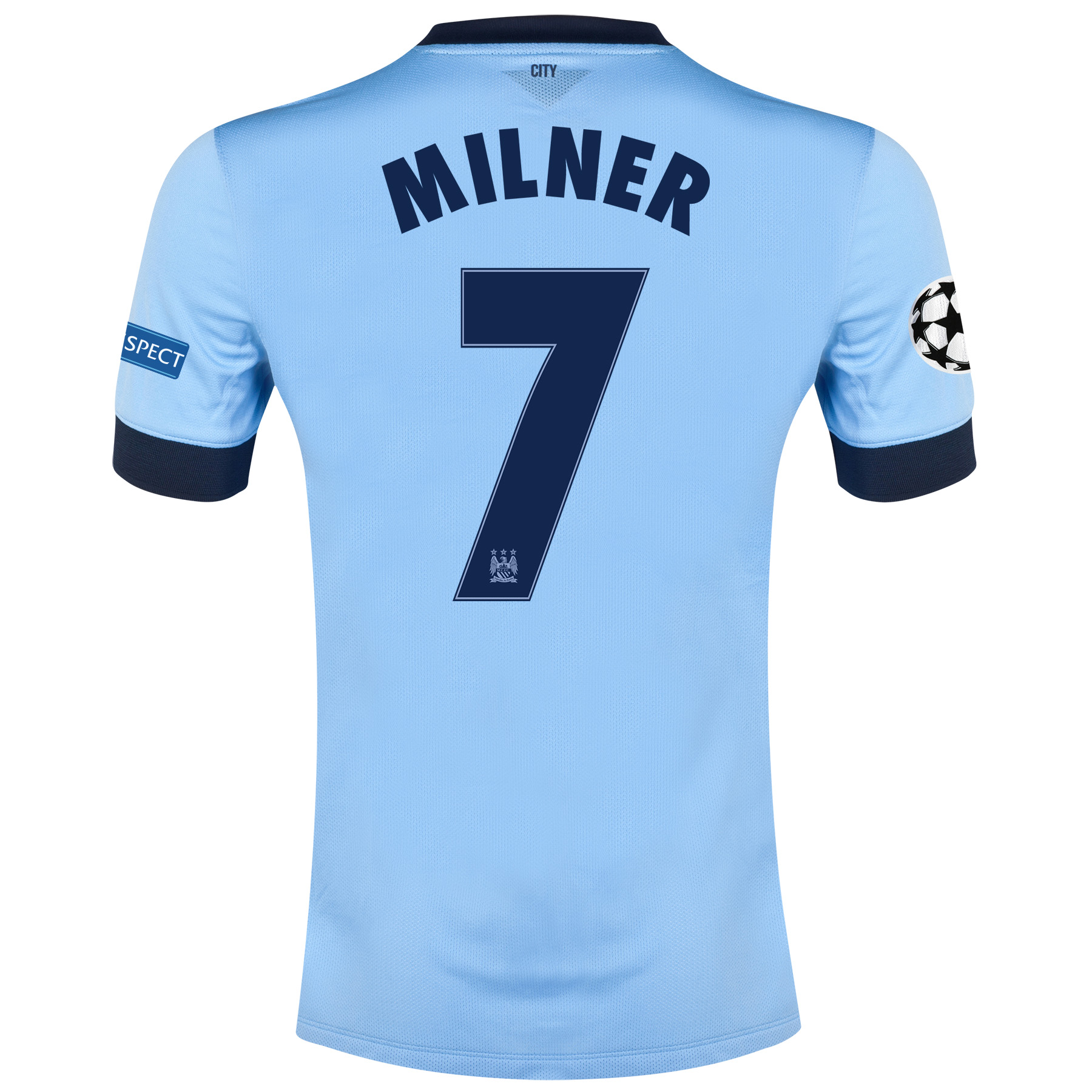 Manchester City UEFA Champions League Home Shirt 2014/15 - Kids Sky Blue with Milner 7 printing