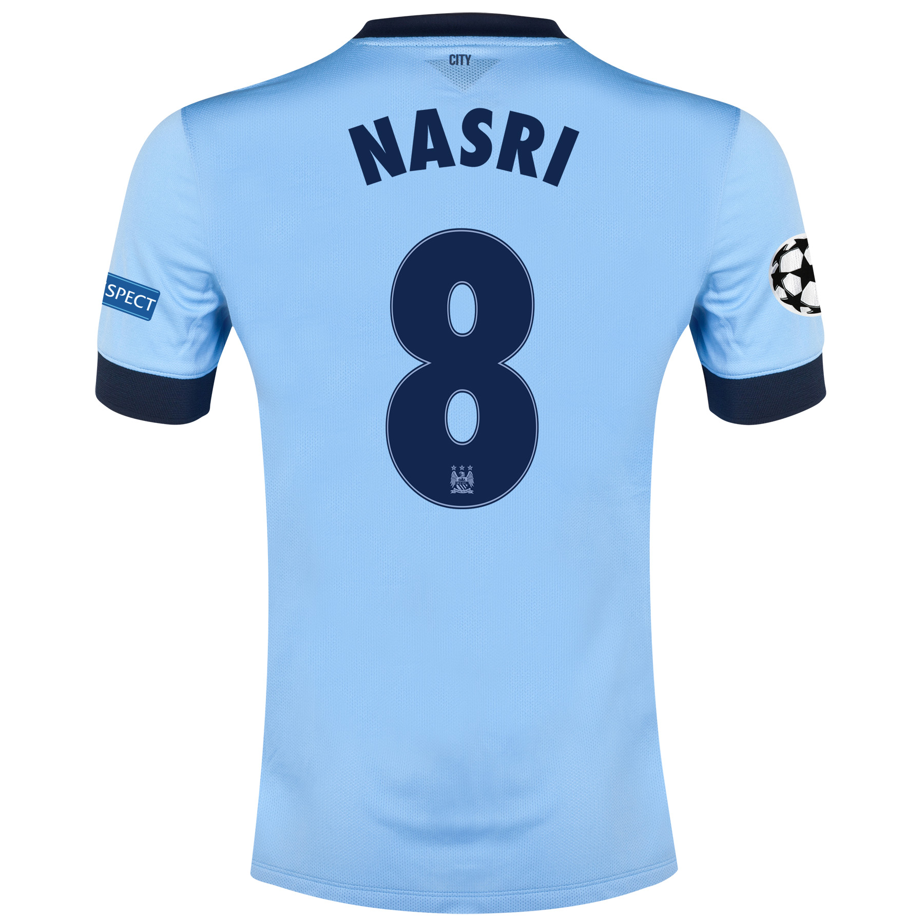 Manchester City UEFA Champions League Home Shirt 2014/15 - Kids Sky Blue with Nasri 8 printing