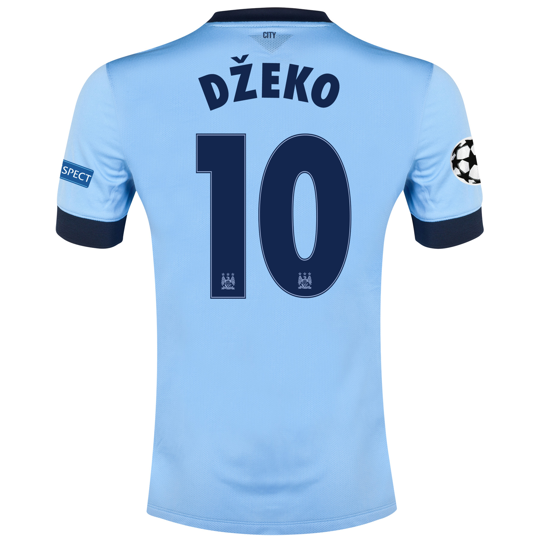 Manchester City UEFA Champions League Home Shirt 2014/15 - Kids Sky Blue with Dzeko 10 printing
