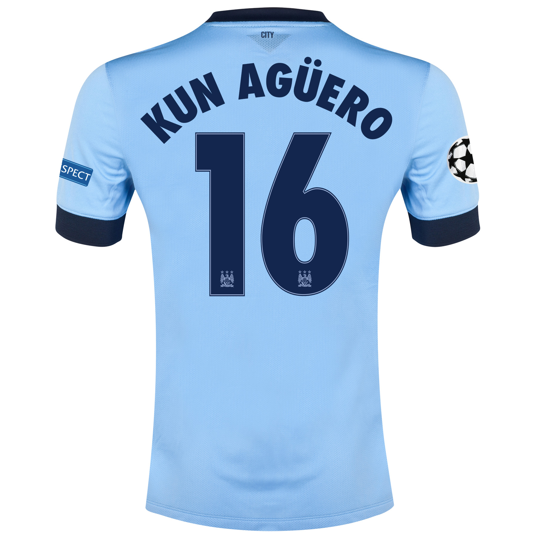 Manchester City UEFA Champions League Home Shirt 2014/15 - Kids Sky Blue with Kun Agüero  16 printing