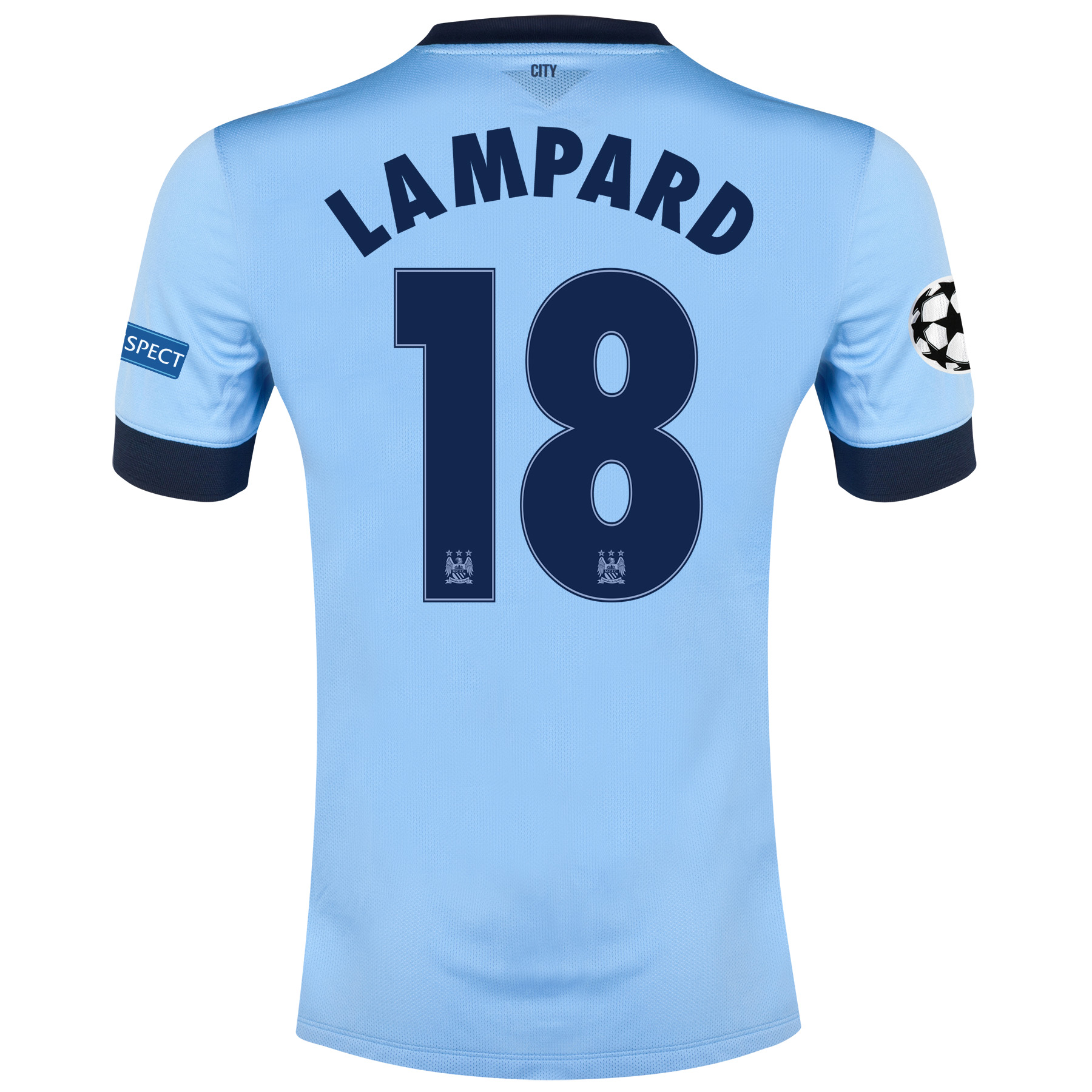 Manchester City UEFA Champions League Home Shirt 2014/15 - Kids Sky Blue with Lampard 18 printing