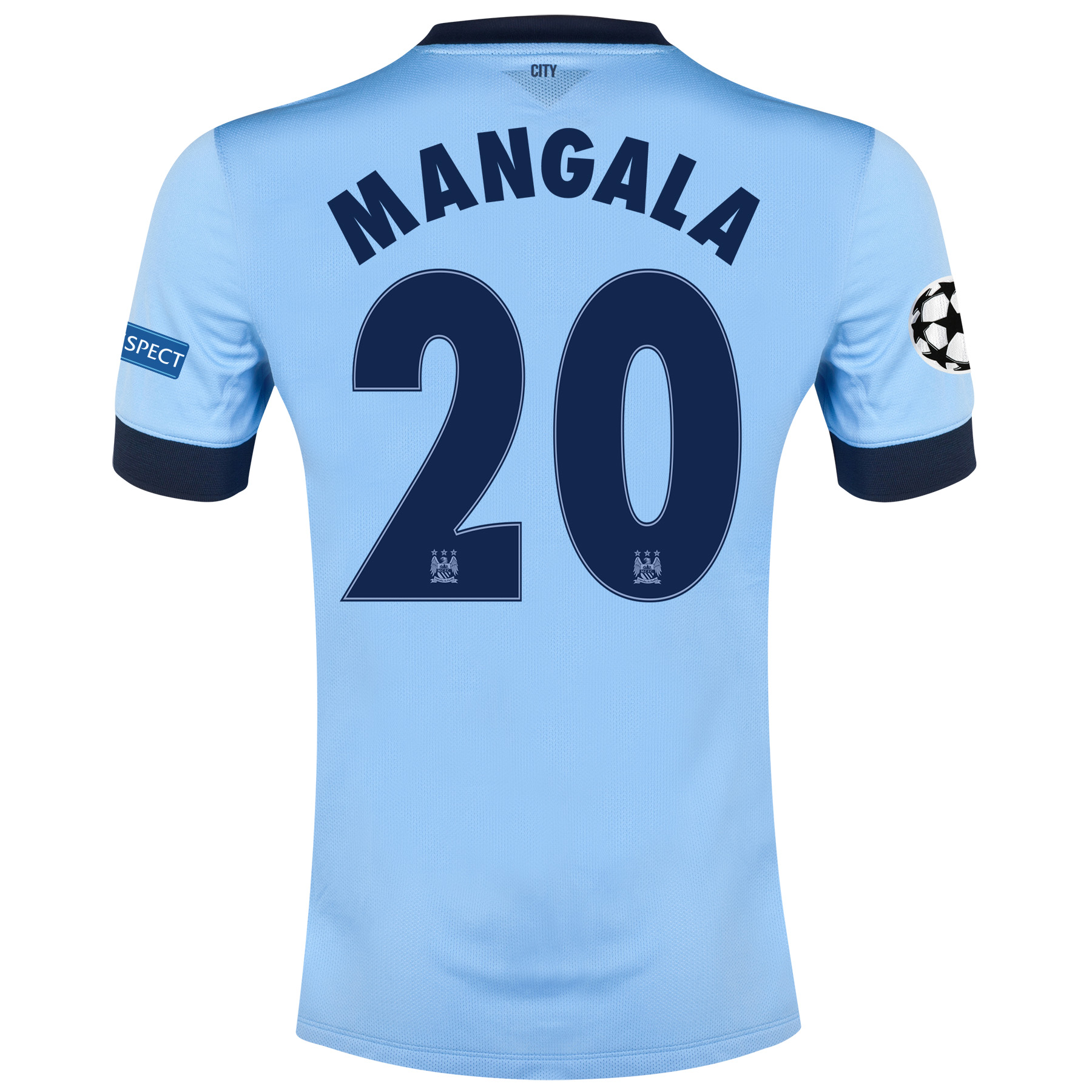 Manchester City UEFA Champions League Home Shirt 2014/15 - Kids Sky Blue with Mangala 20 printing