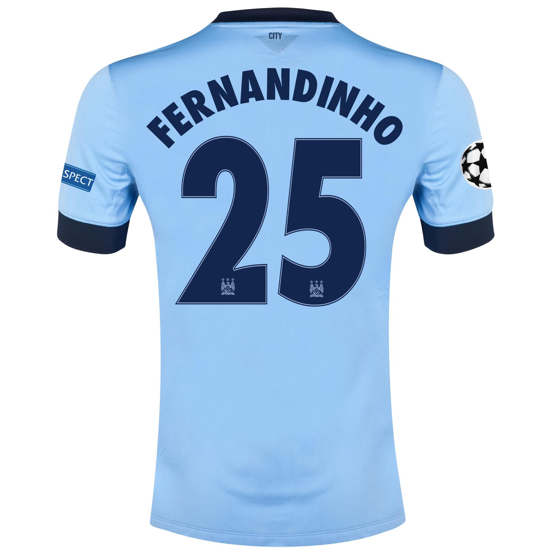 Manchester City UEFA Champions League Home Shirt 2014/15 - Kids Sky Blue with Fernandinho 25 printing