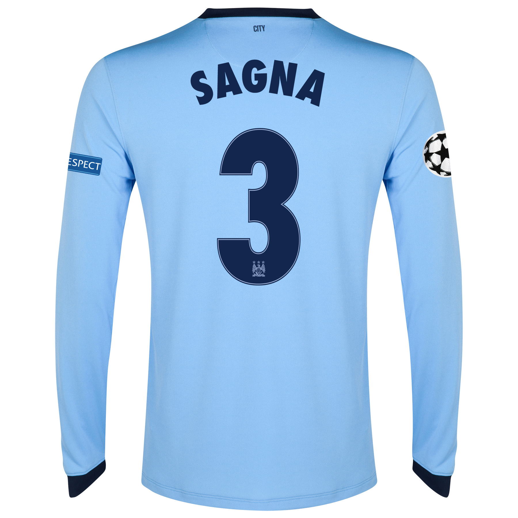 Manchester City UEFA Champions League Home Shirt 2014/15 - Long Sleeve - Kids Sky Blue with Sagna 3 printing