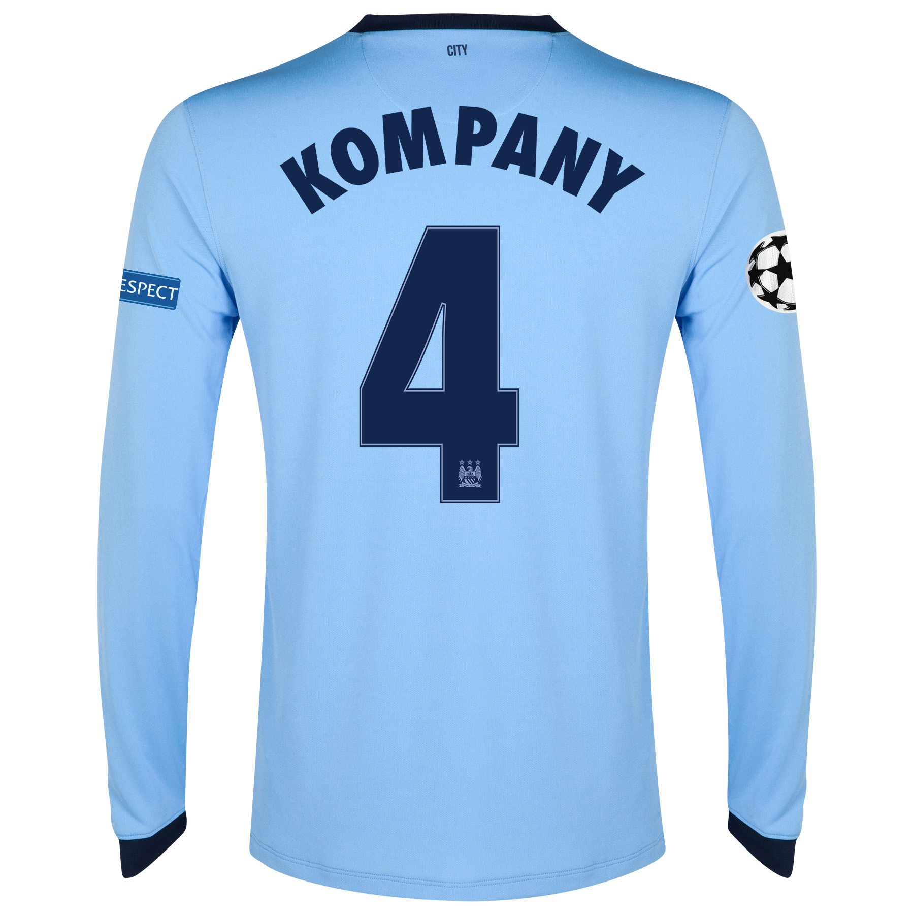 Manchester City UEFA Champions League Home Shirt 2014/15 - Long Sleeve - Kids Sky Blue with Kompany 4 printing