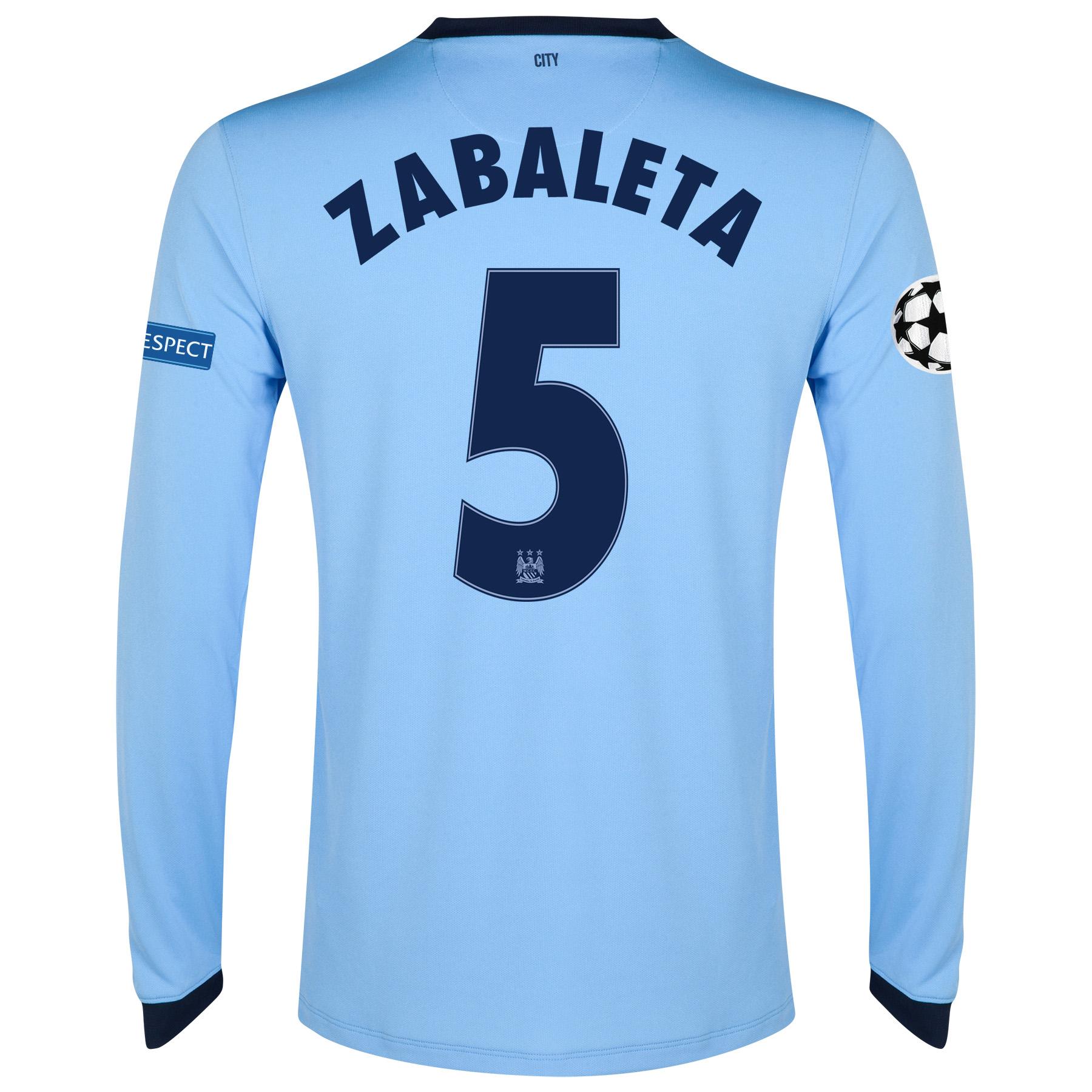 Manchester City UEFA Champions League Home Shirt 2014/15 - Long Sleeve - Kids Sky Blue with Zabaleta 5 printing