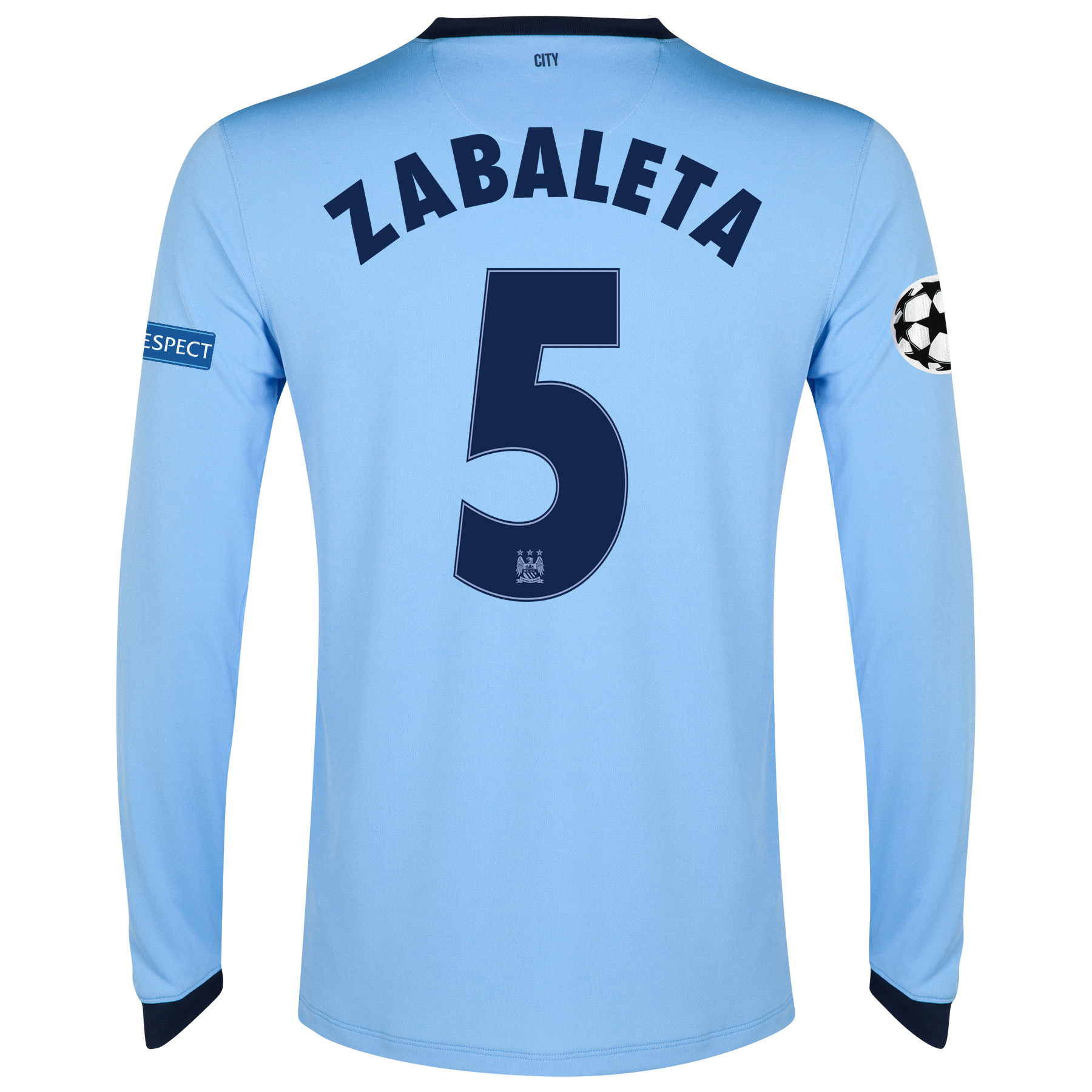 Manchester City UEFA Champions League Home Shirt 2014/15 - Long Sleeve - Kids Sky Blue with Zabaleta 5 printing