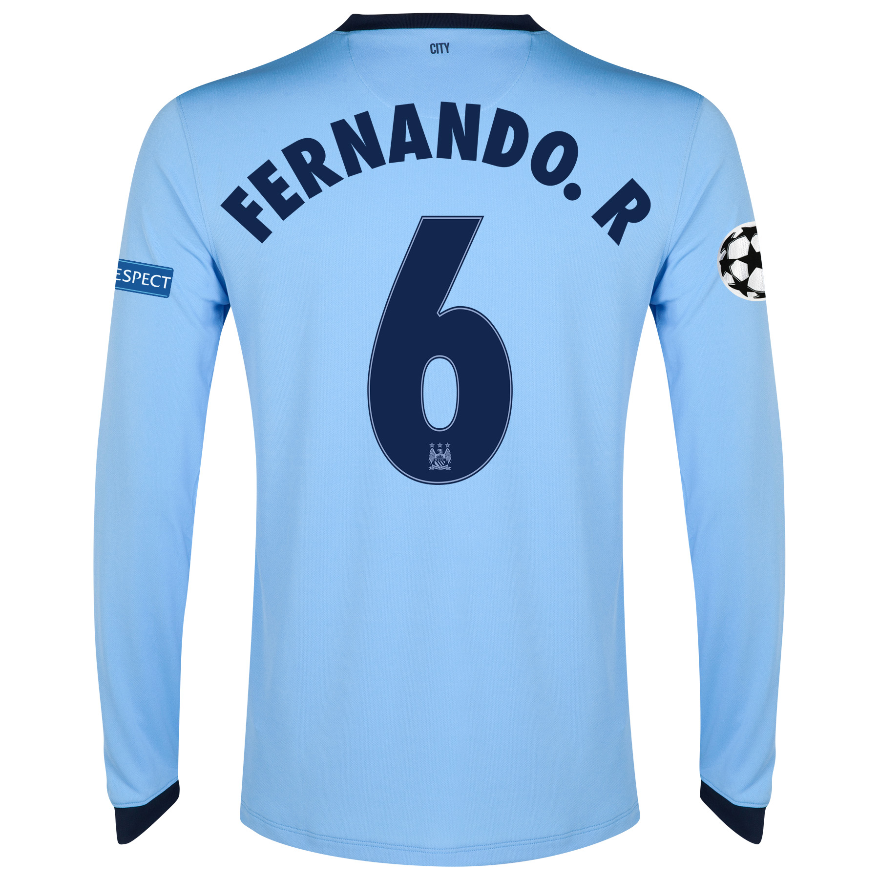 Manchester City UEFA Champions League Home Shirt 2014/15 - Long Sleeve - Kids Sky Blue with Fernando. R 6 printing