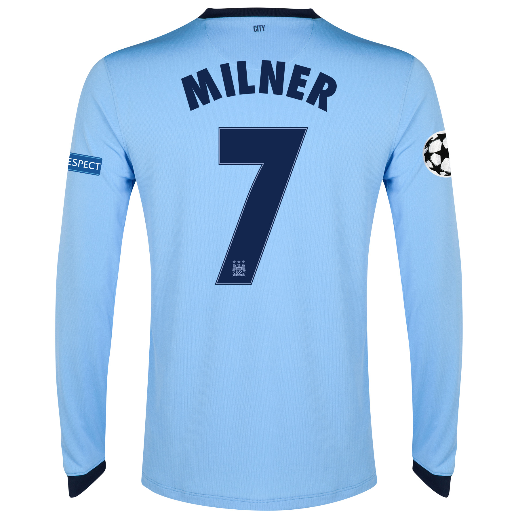 Manchester City UEFA Champions League Home Shirt 2014/15 - Long Sleeve - Kids Sky Blue with Milner 7 printing