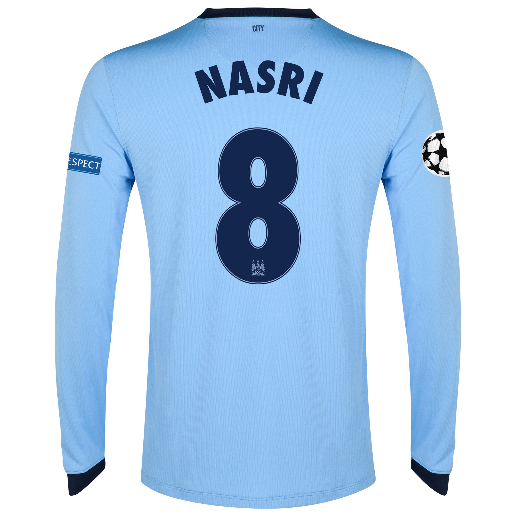 Manchester City UEFA Champions League Home Shirt 2014/15 - Long Sleeve - Kids Sky Blue with Nasri 8 printing