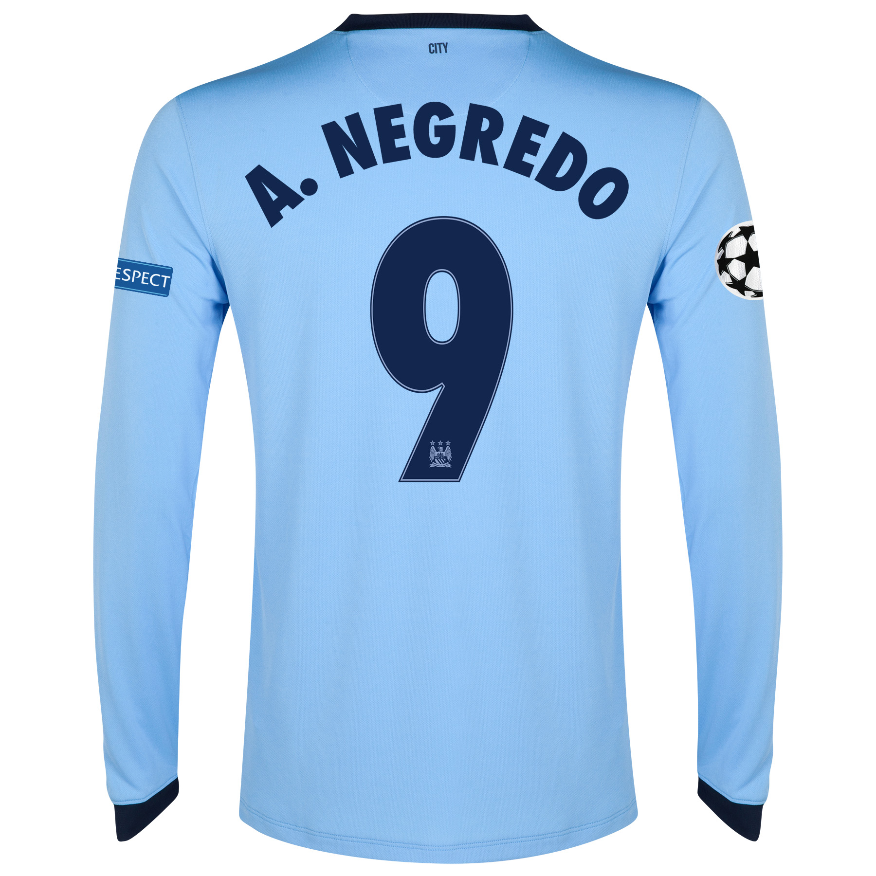 Manchester City UEFA Champions League Home Shirt 2014/15 - Long Sleeve - Kids Sky Blue with A.Negredo 9 printing