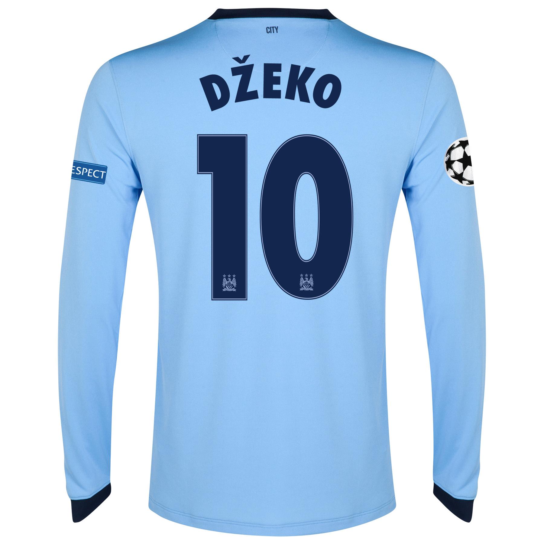 Manchester City UEFA Champions League Home Shirt 2014/15 - Long Sleeve - Kids Sky Blue with Dzeko 10 printing