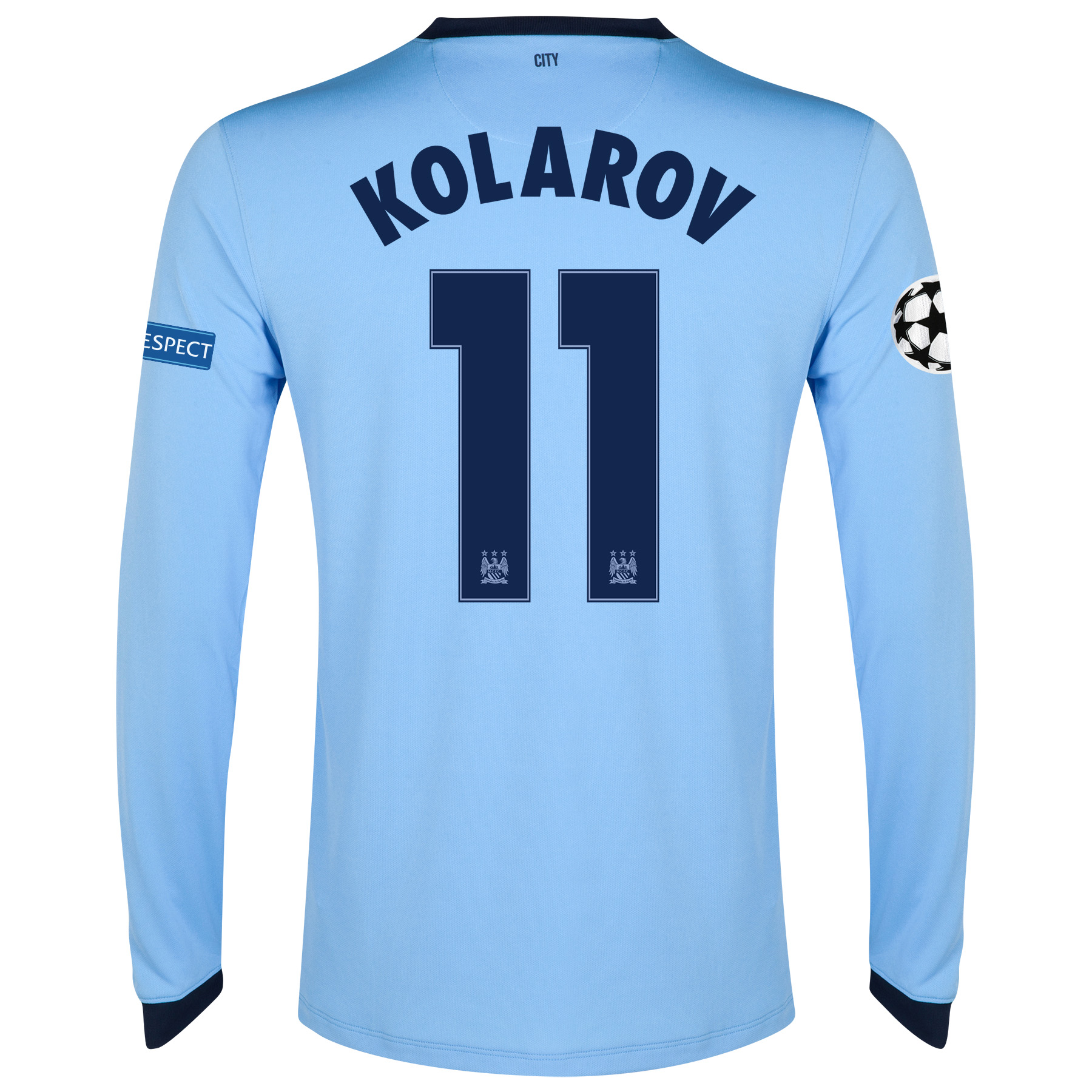 Manchester City UEFA Champions League Home Shirt 2014/15 - Long Sleeve - Kids Sky Blue with Kolarov 11 printing